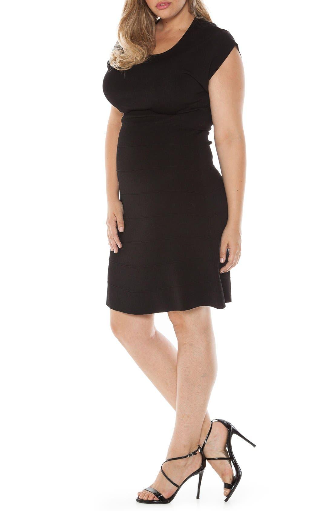 Cap Sleeve Knit A-Line Dress,                             Alternate thumbnail 3, color,                             001