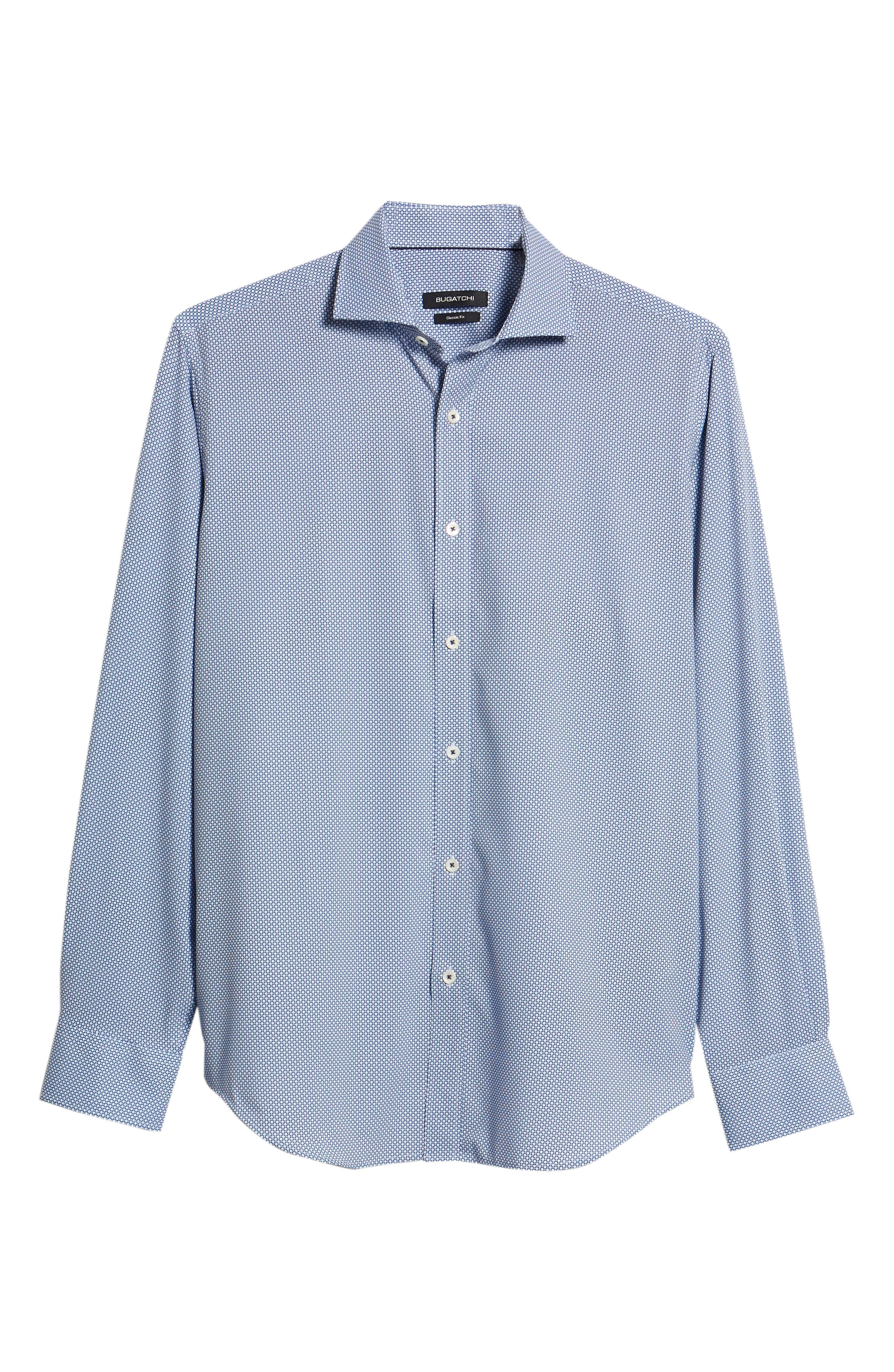 BUGATCHI,                             Classic Fit Stacked Circles Performance Sport Shirt,                             Alternate thumbnail 6, color,                             NAVY