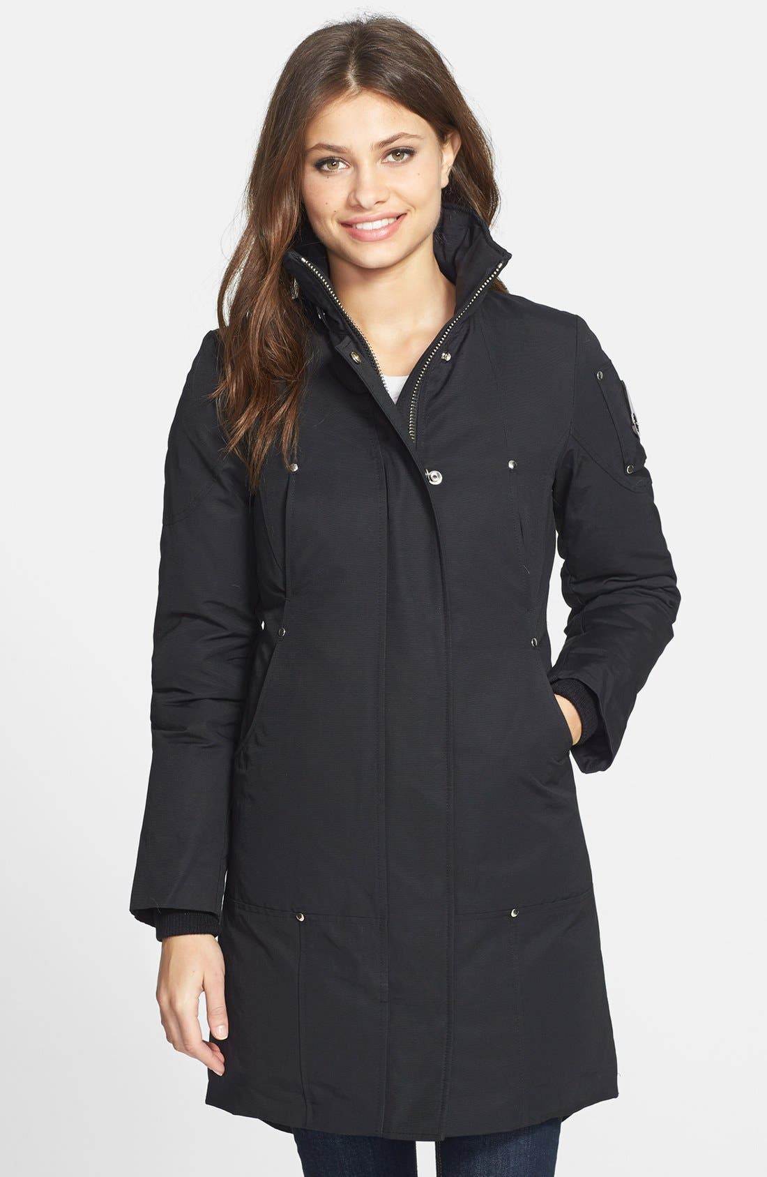 'Stirling' Down Parka with Genuine Fox Fur Trim,                             Alternate thumbnail 9, color,                             BLACK/ WHITE FUR
