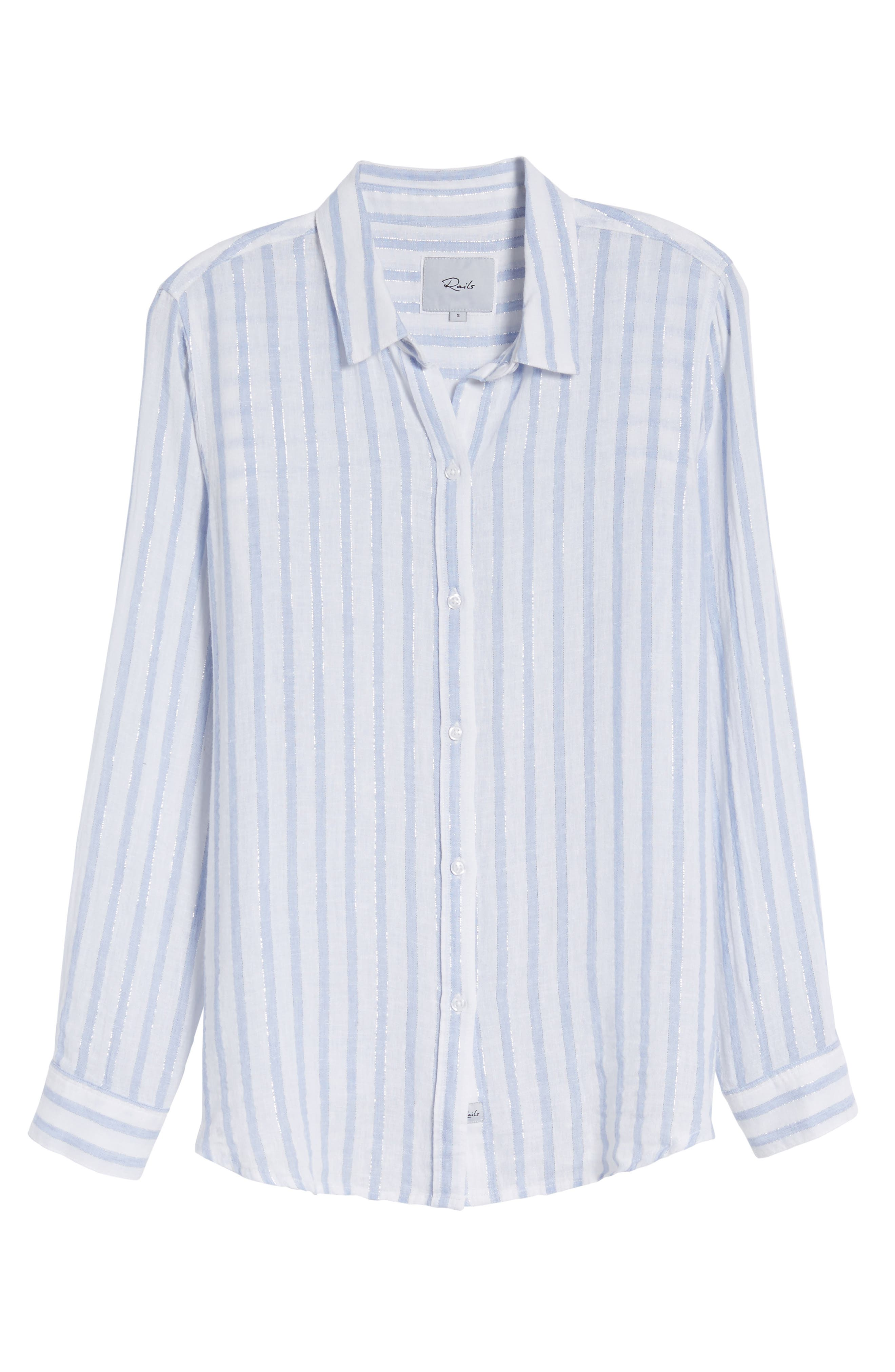 Sydney Vertical Shimmer Stripe Linen Blend Shirt,                             Alternate thumbnail 6, color,                             473
