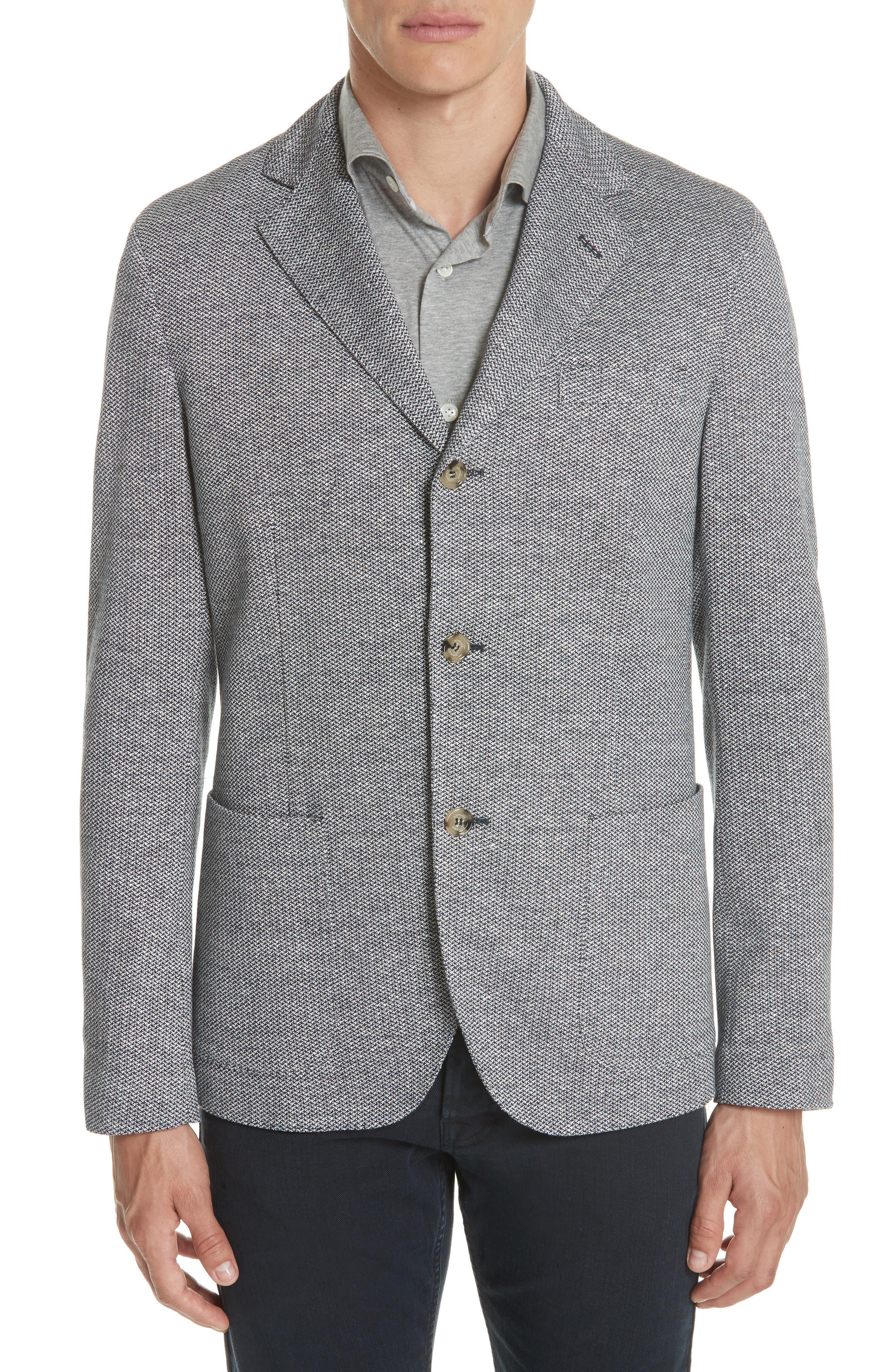 Trim Fit Linen & Cotton Blazer,                         Main,                         color, 400