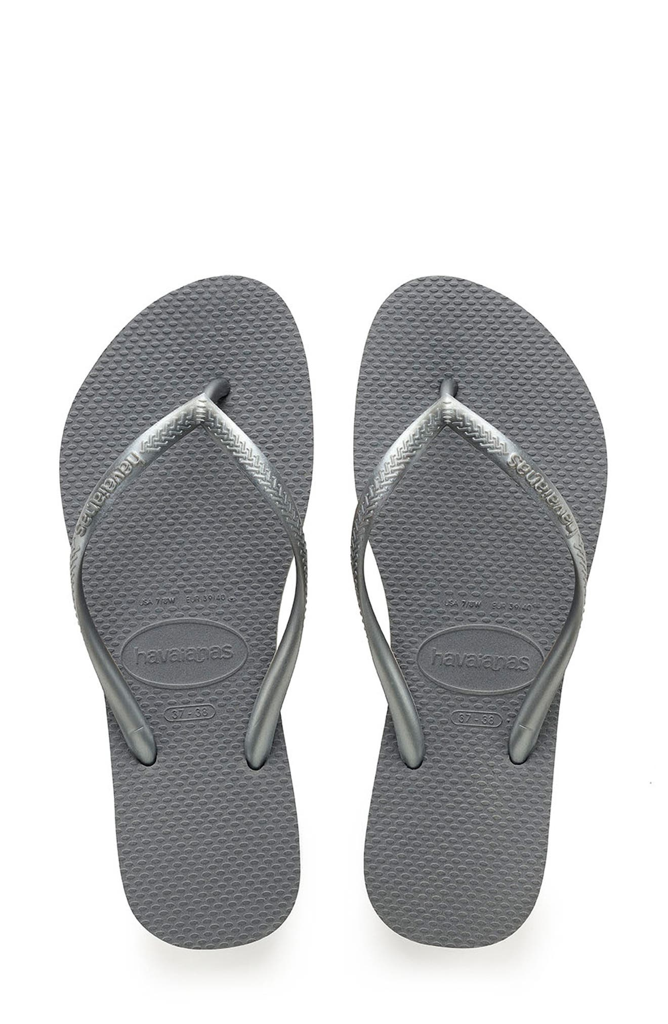 'Slim' Flip Flop,                             Alternate thumbnail 2, color,                             STEEL GREY