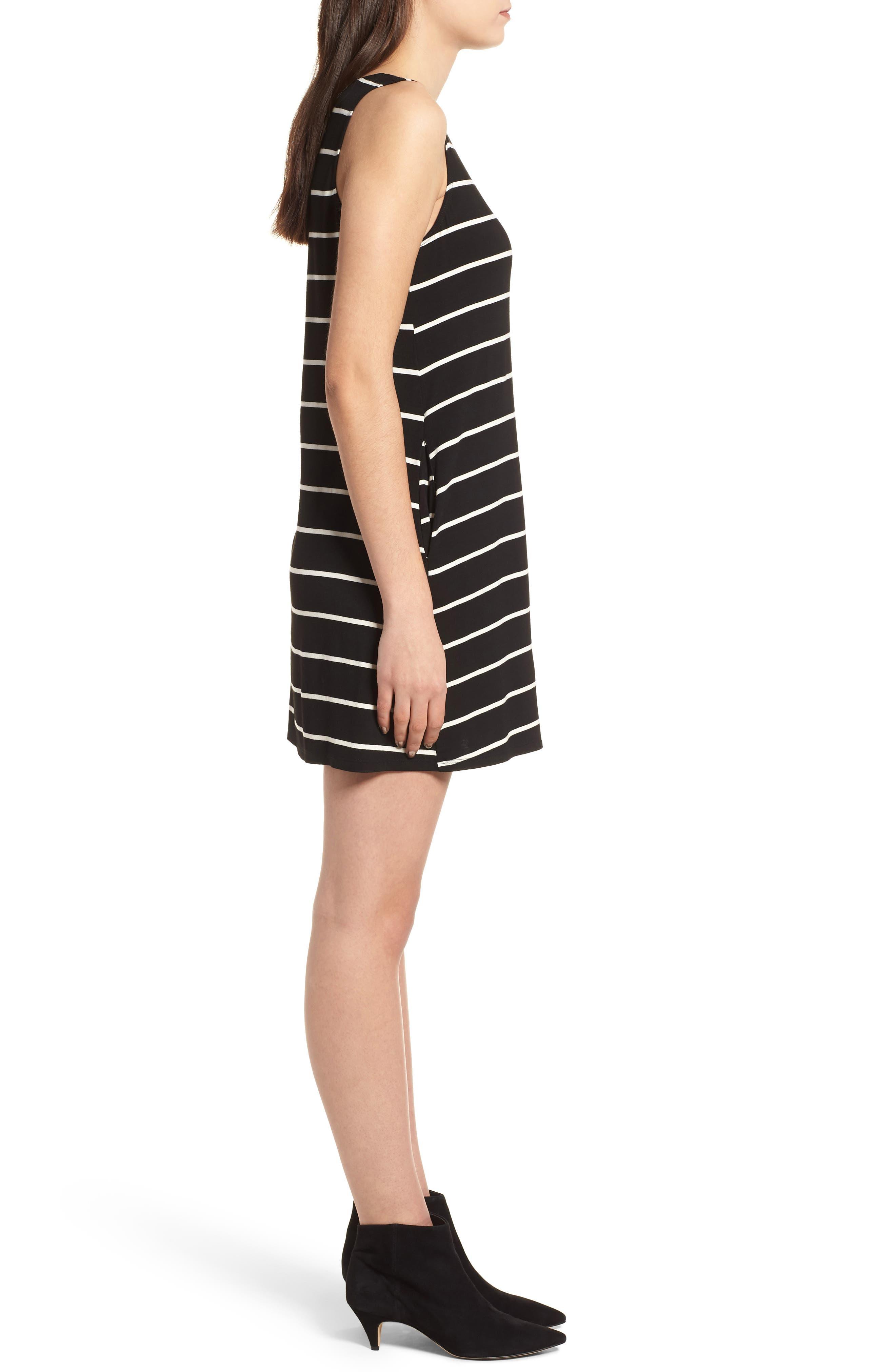 Pocket Tank Dress,                             Alternate thumbnail 3, color,                             BLACK/ WHITE STRIPE
