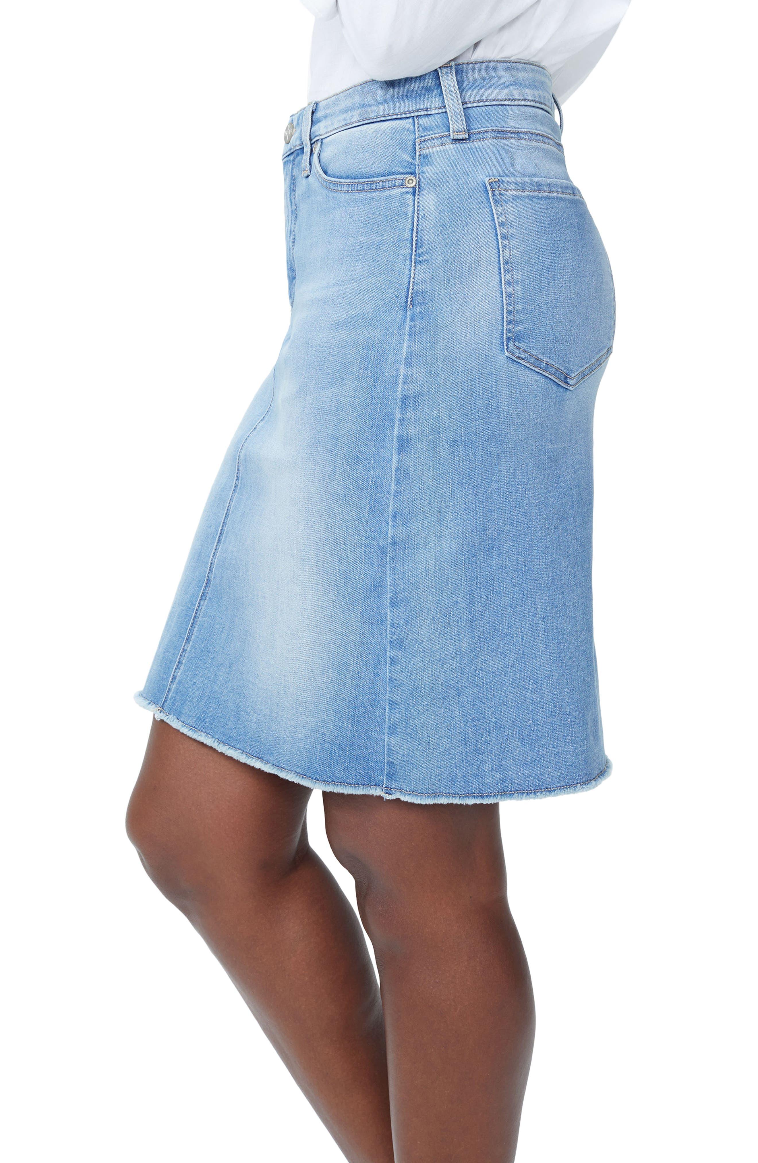 Frayed Hem Denim Skirt,                             Alternate thumbnail 3, color,                             418