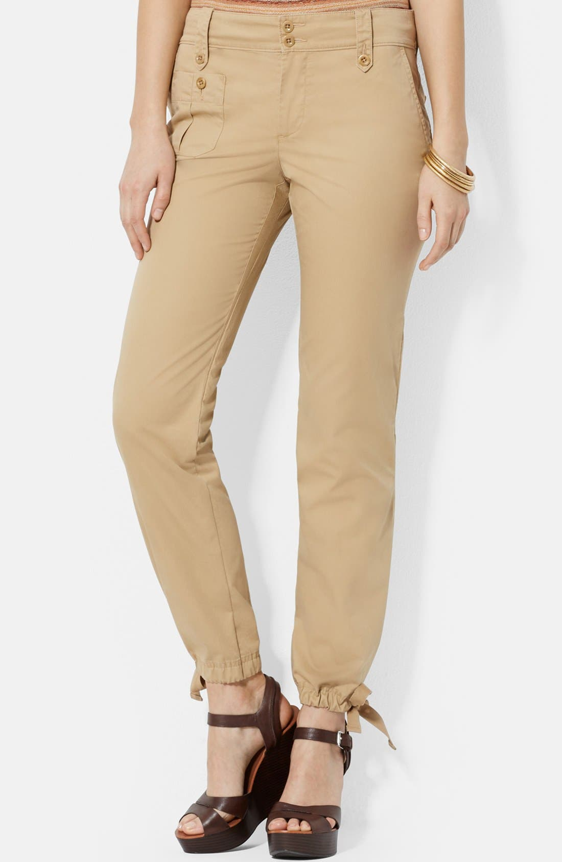 Cotton Drawstring Ankle Cargo Pants, Main, color, 265