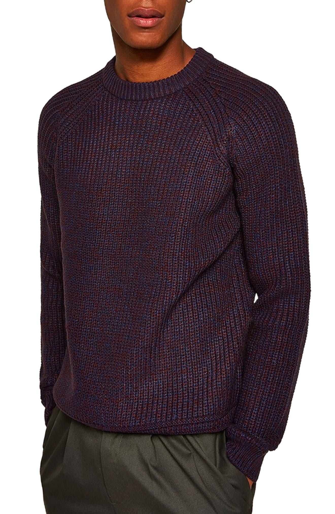 Crewneck Sweater,                         Main,                         color, BURGUNDY MULTI