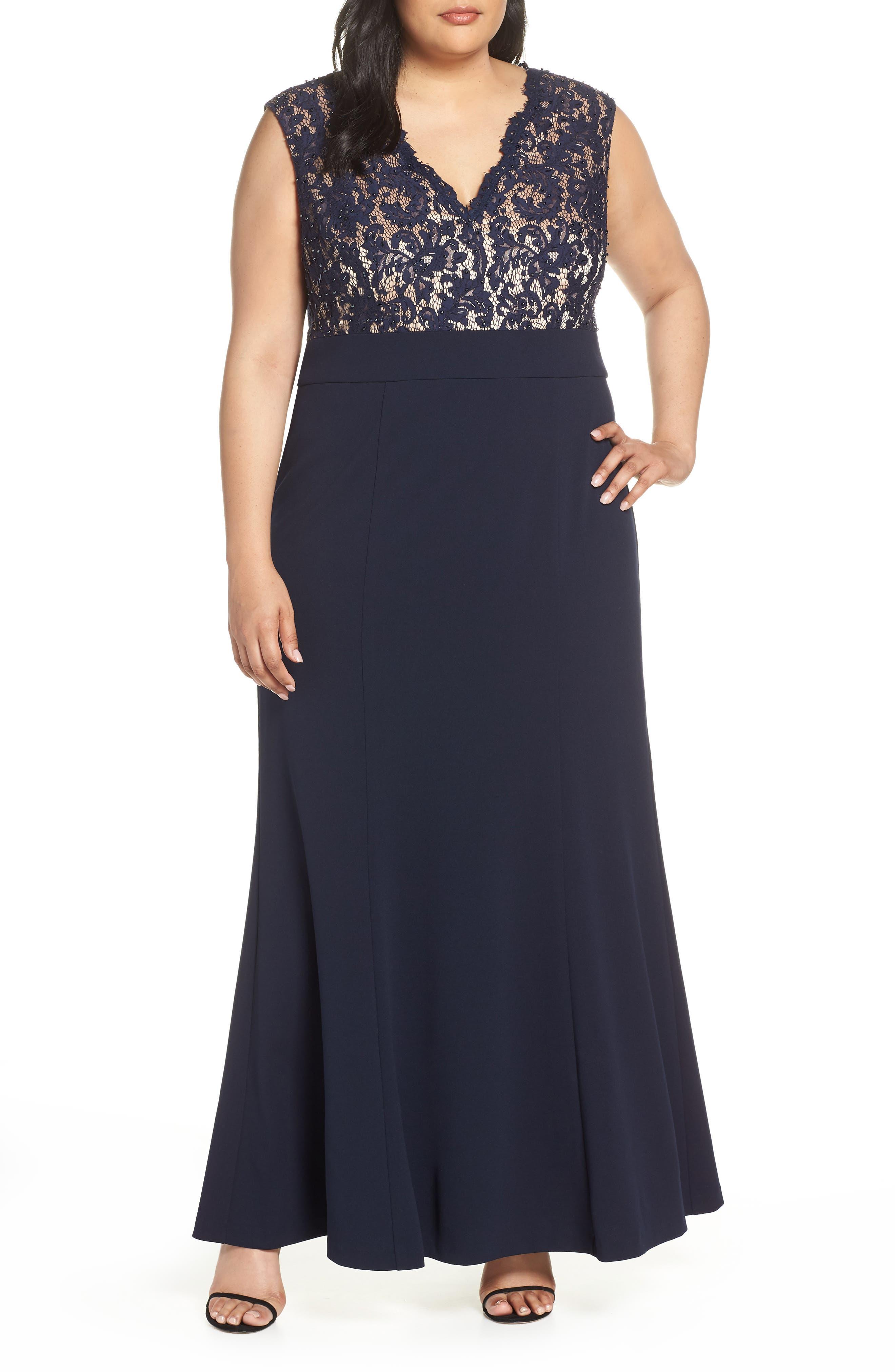 Plus Size Eliza J Lace Bodice Trumpet Dress, Blue