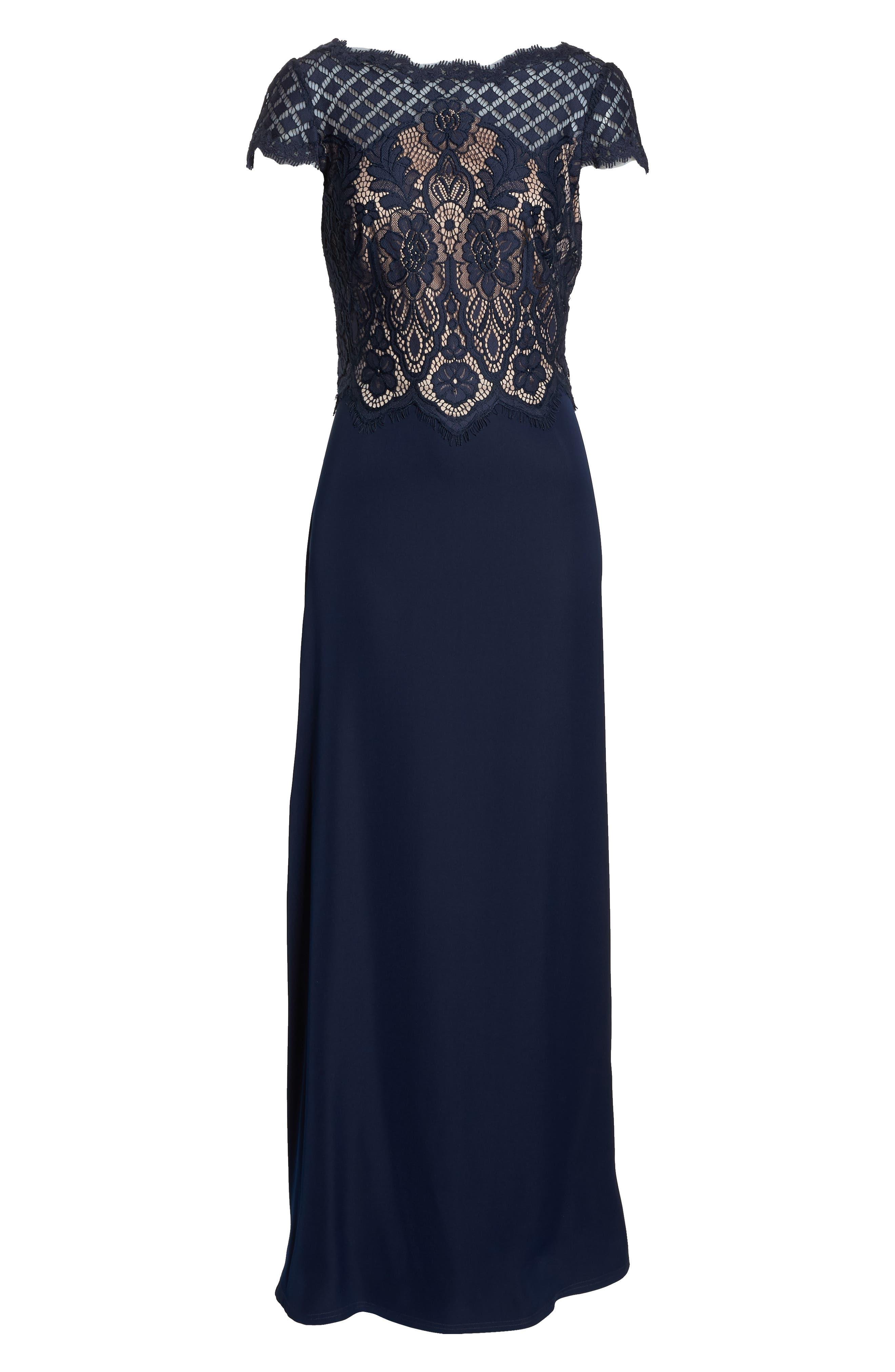 Lace & Crepe A-Line Gown,                             Alternate thumbnail 8, color,                             NAVY/ PETAL
