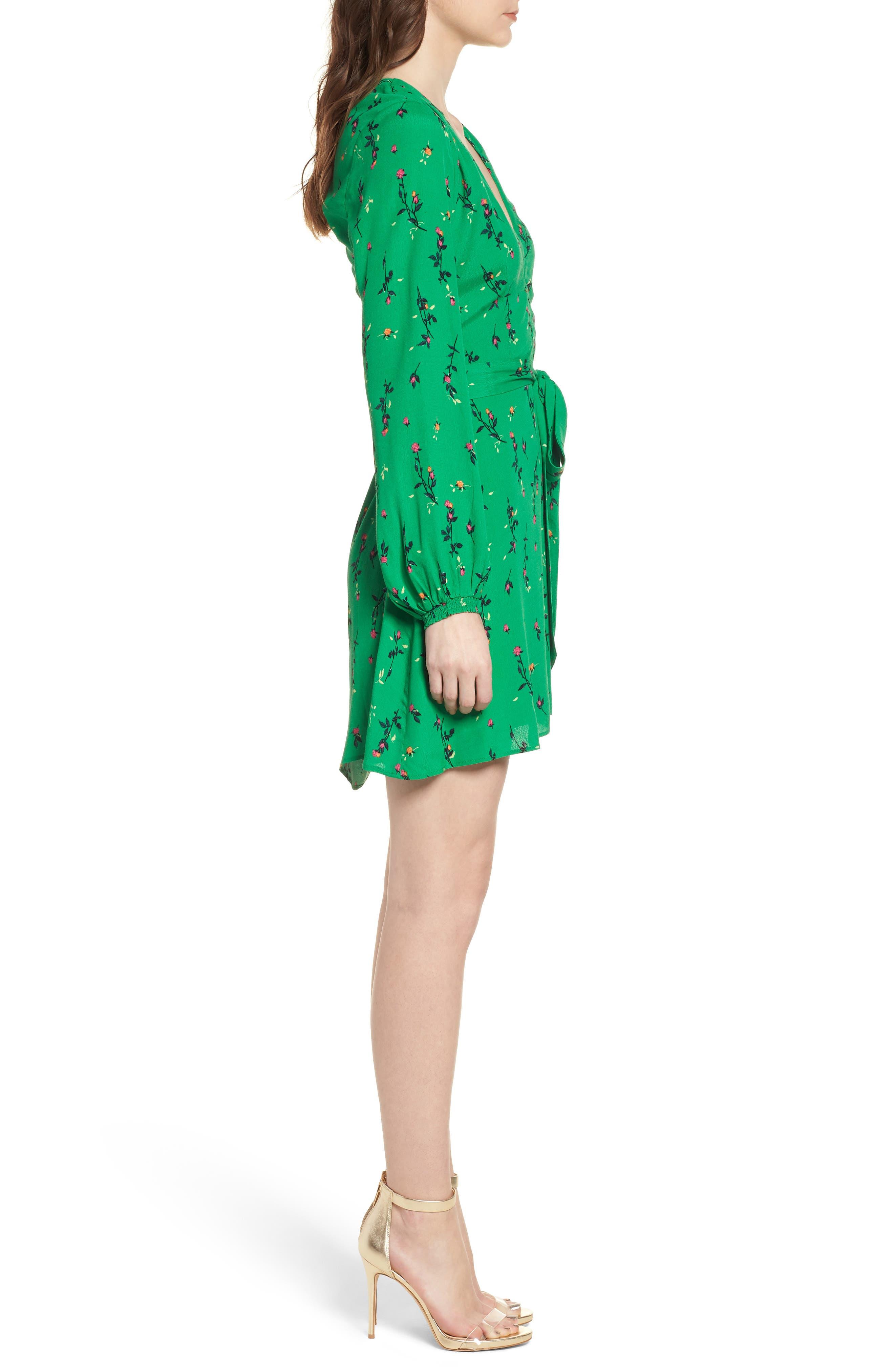 Piper Satin Open Back Dress,                             Alternate thumbnail 3, color,                             GREEN DITSY ROSE