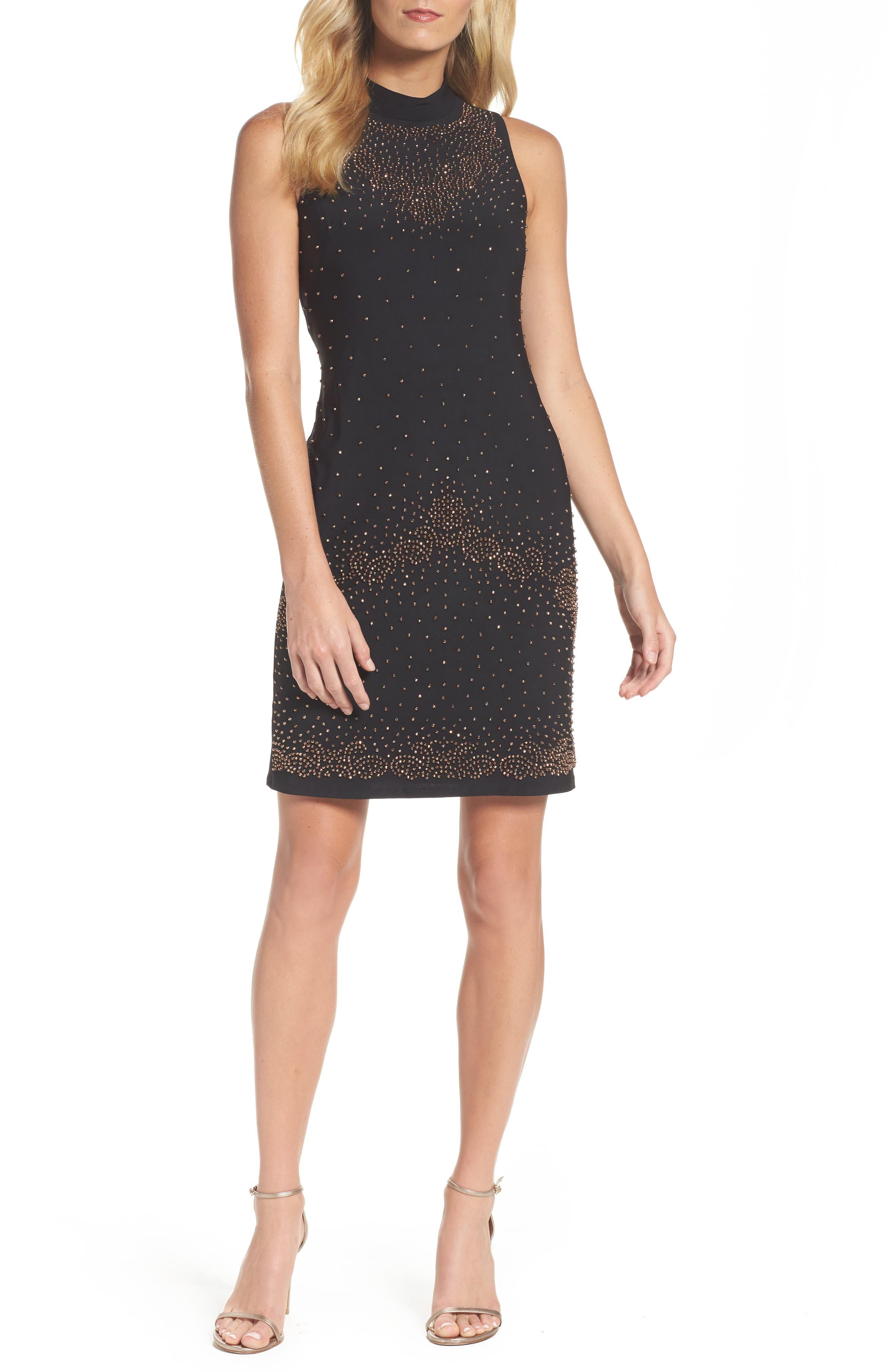Beaded Sheath Dress,                             Main thumbnail 1, color,                             001