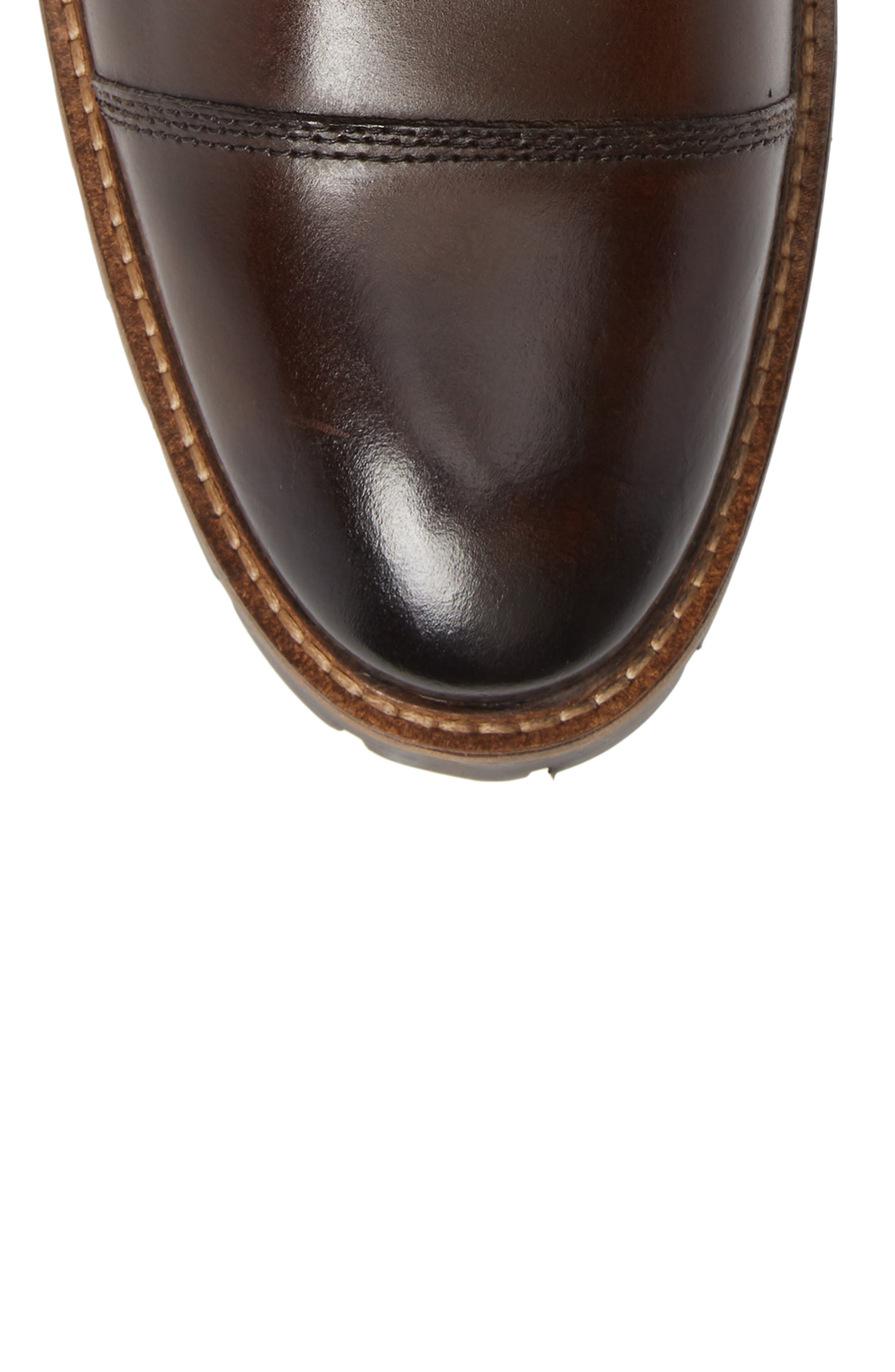 Lugged Cap Toe Boot,                             Alternate thumbnail 5, color,                             BROWN