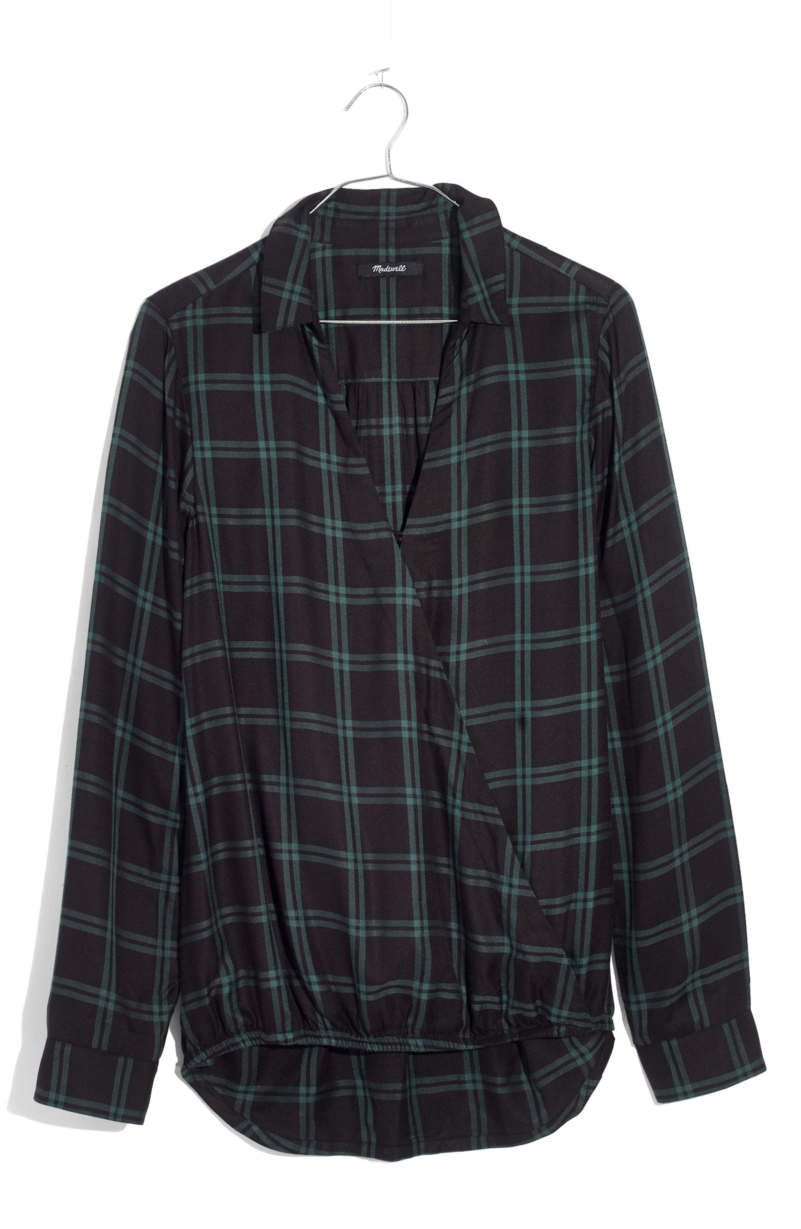 Plaid Faux Wrap Shirt,                             Alternate thumbnail 4, color,                             OLD VINE