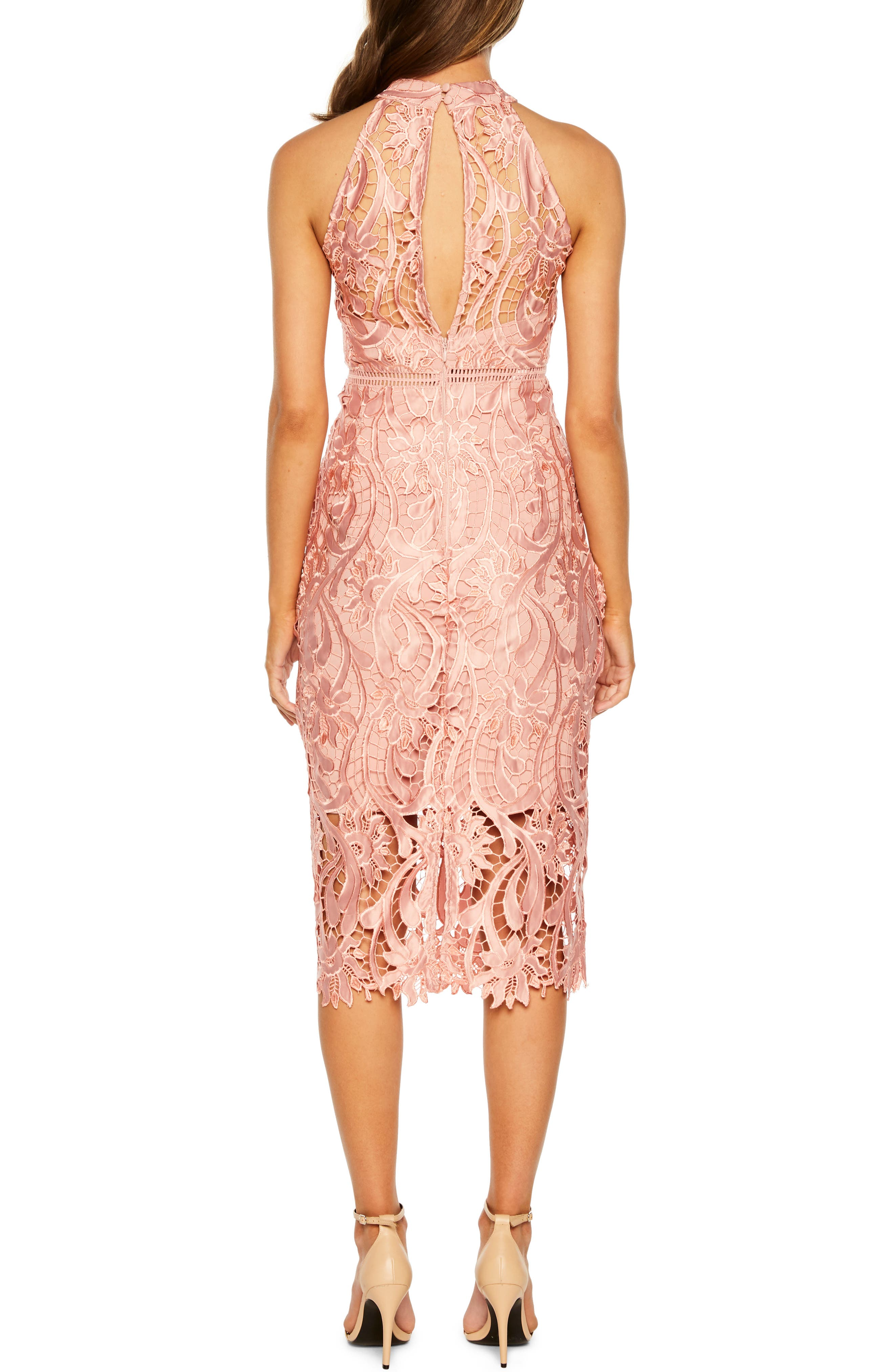 Isa Lace Halter Dress,                             Alternate thumbnail 2, color,                             VINTAGE ROSE