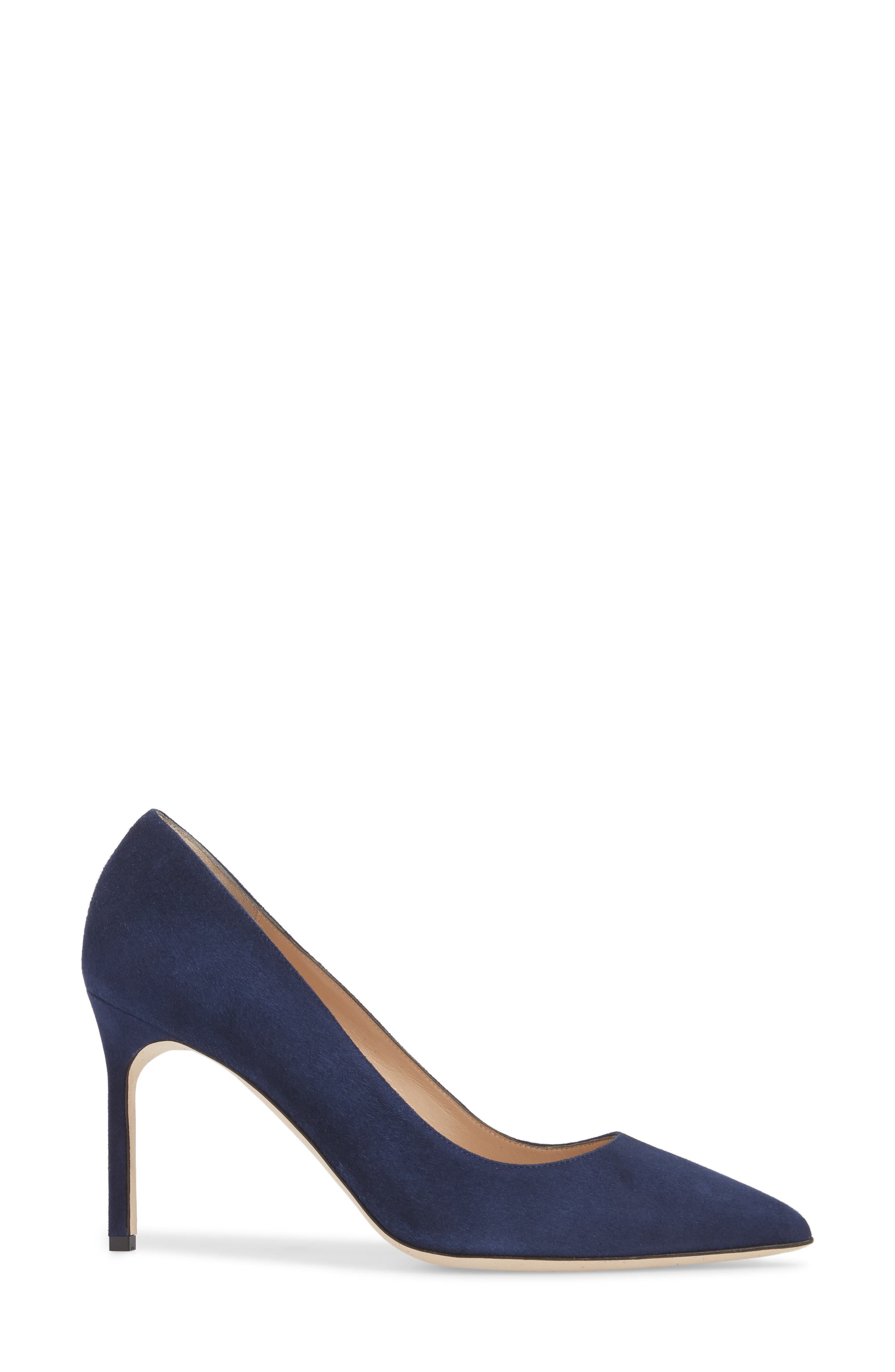 BB Pointy Toe Pump,                             Alternate thumbnail 3, color,                             NAVY SUEDE