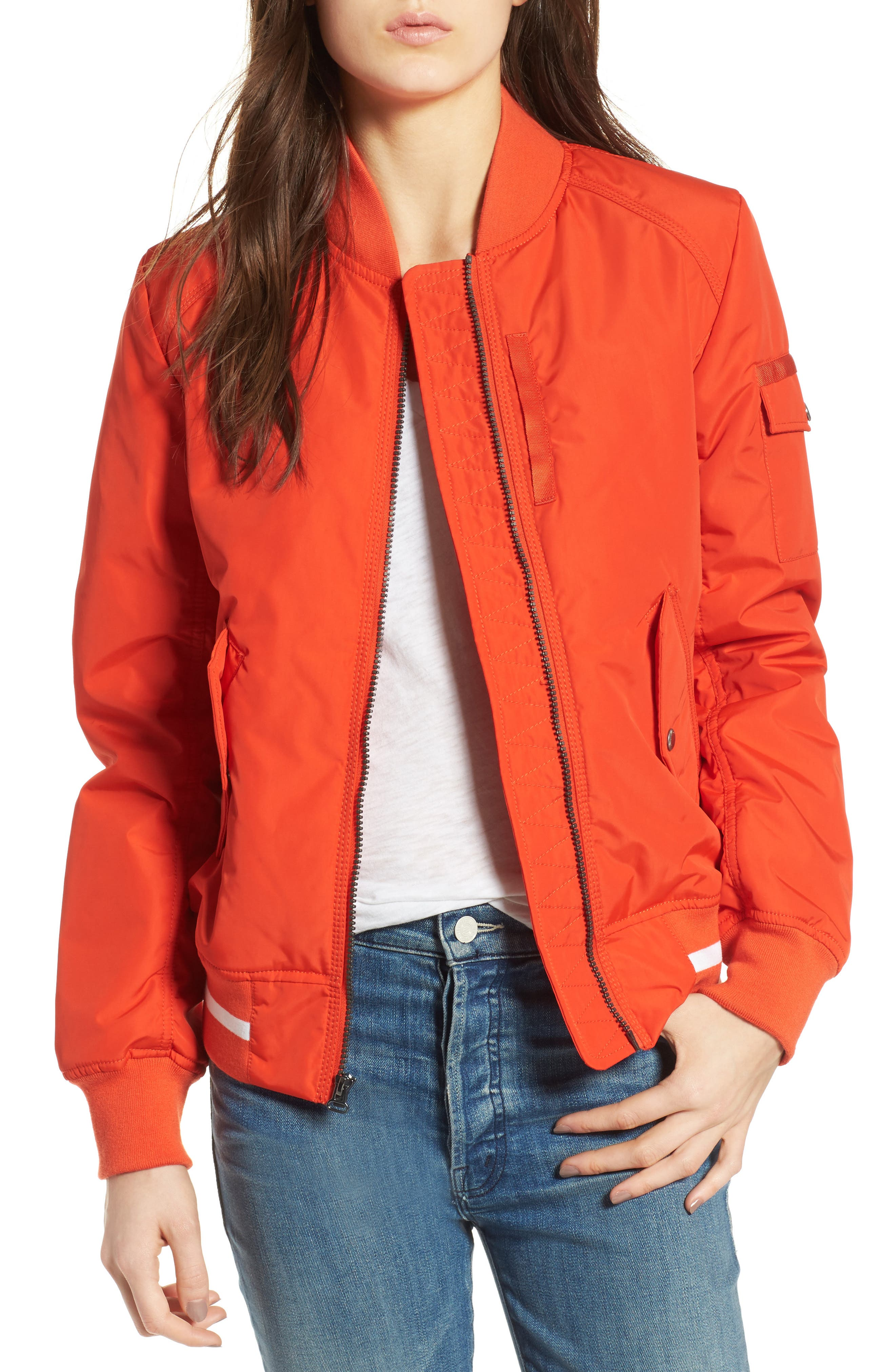 Foster Nylon Twill Bomber Jacket,                             Main thumbnail 4, color,