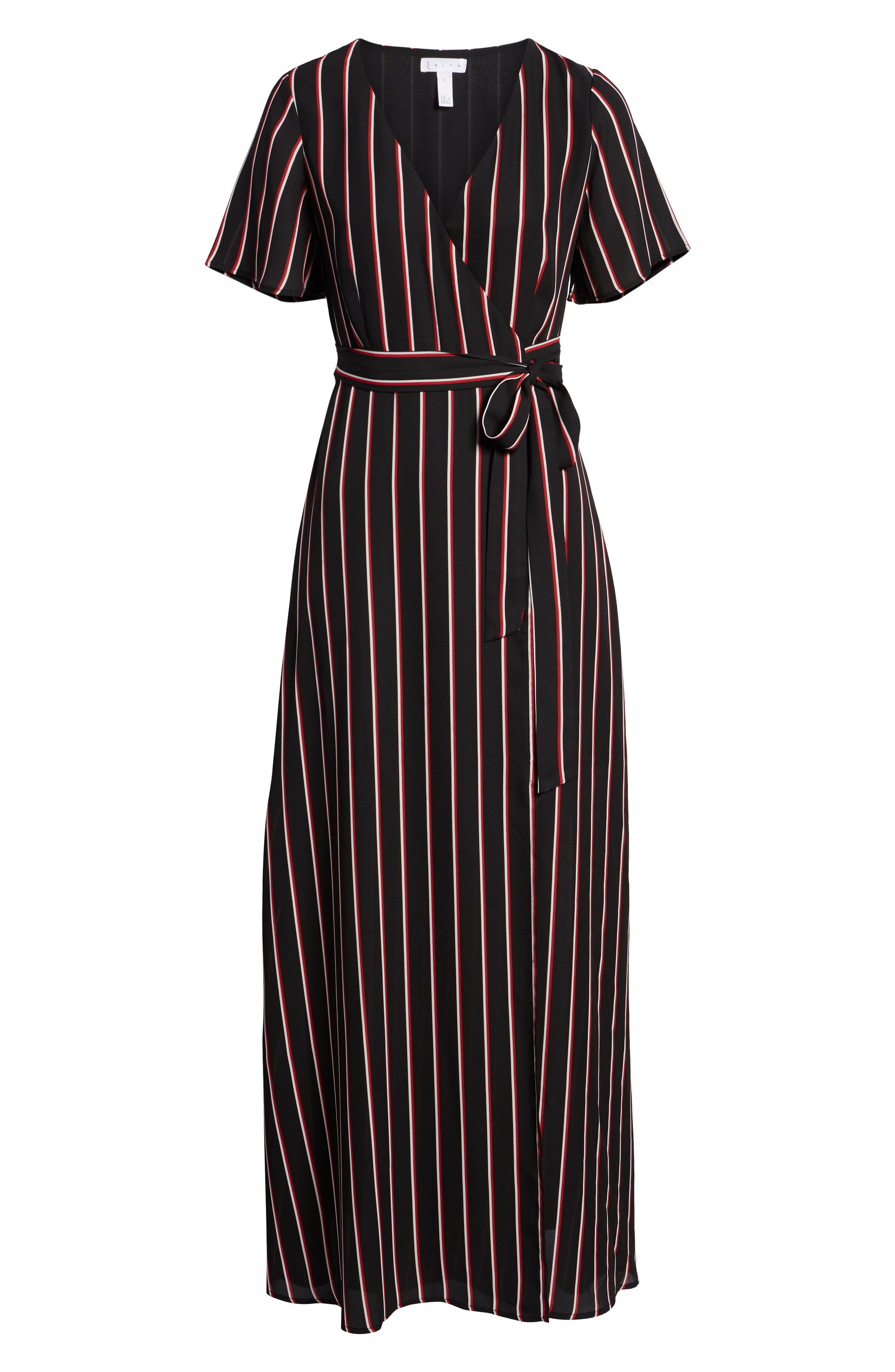 Wrap Maxi Dress,                             Alternate thumbnail 7, color,                             BLACK DOUBLE STRIPE