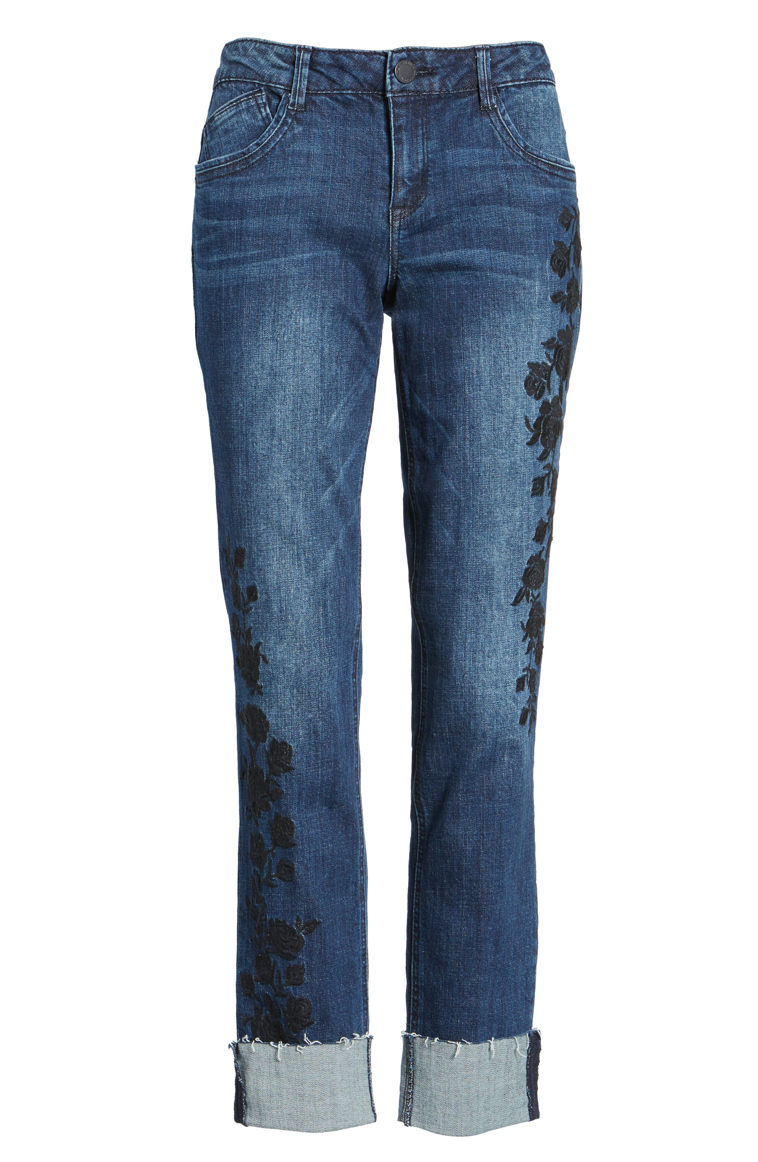 Flexellent Embroidered Boyfriend Jeans,                             Alternate thumbnail 7, color,                             BLUE
