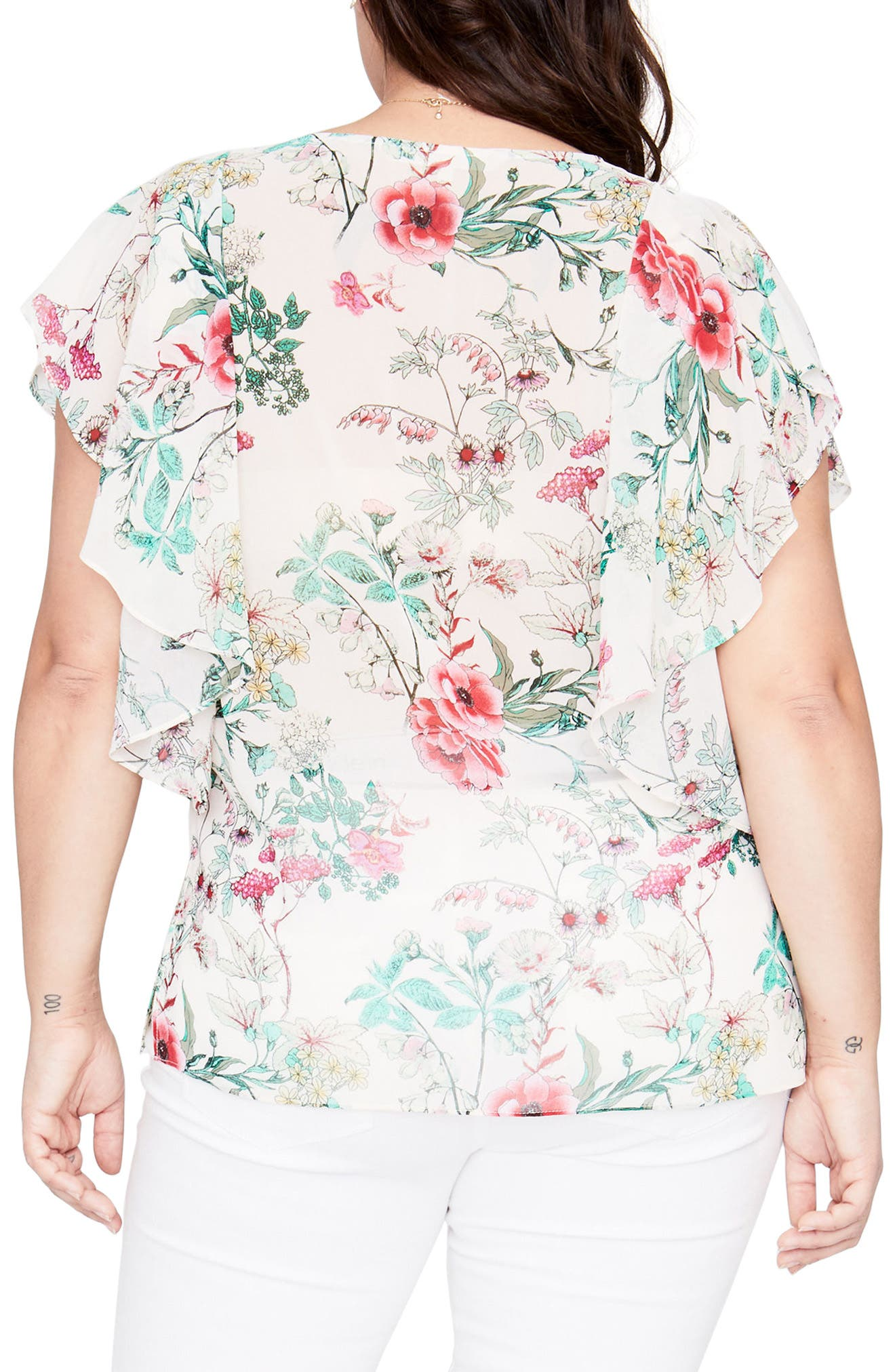 Flutter Sleeve Floral Top,                             Alternate thumbnail 2, color,                             ALMOND MILK COMBO