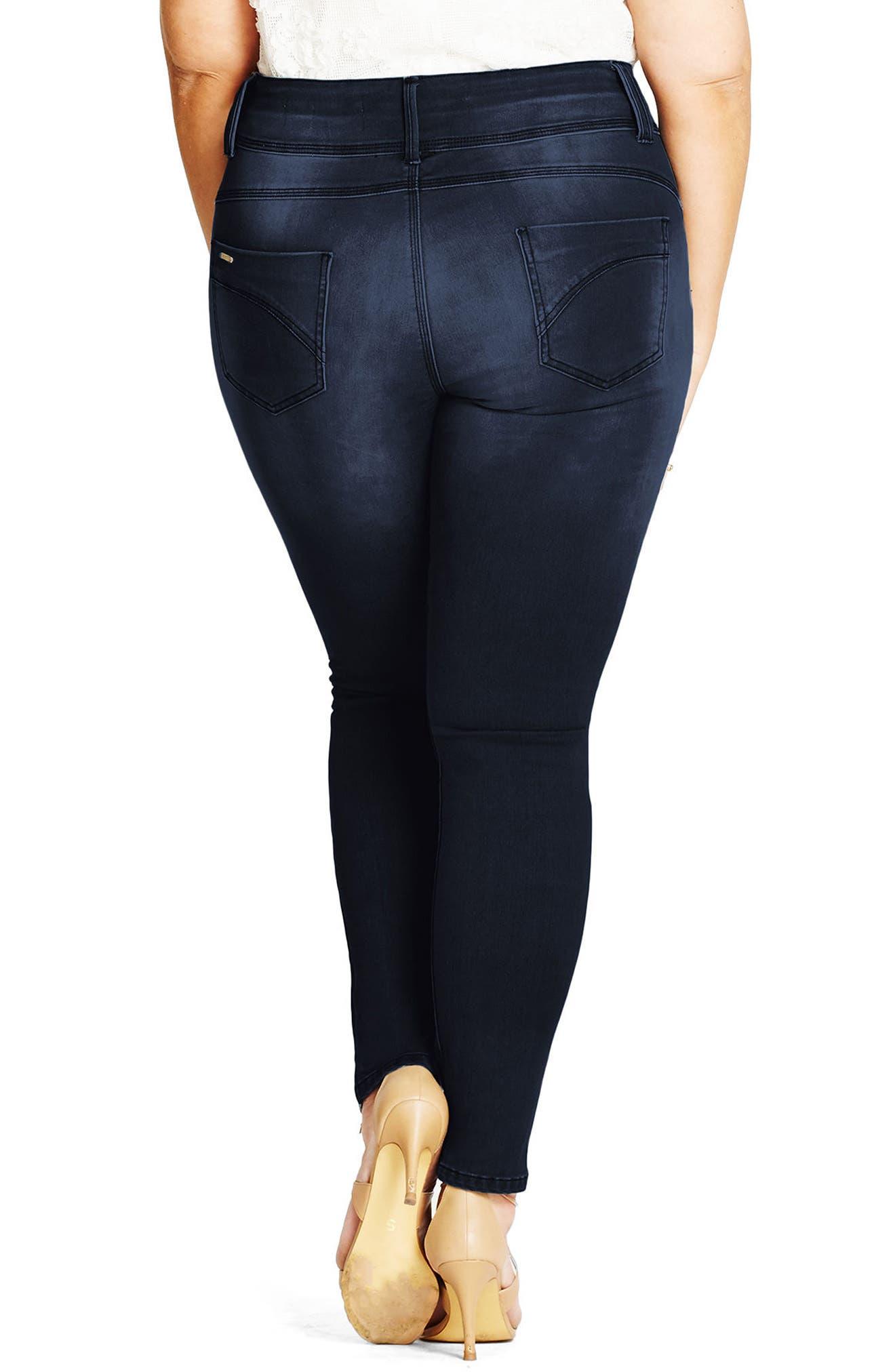 Asha Skinny Jeans,                             Alternate thumbnail 2, color,                             DARK DENIM
