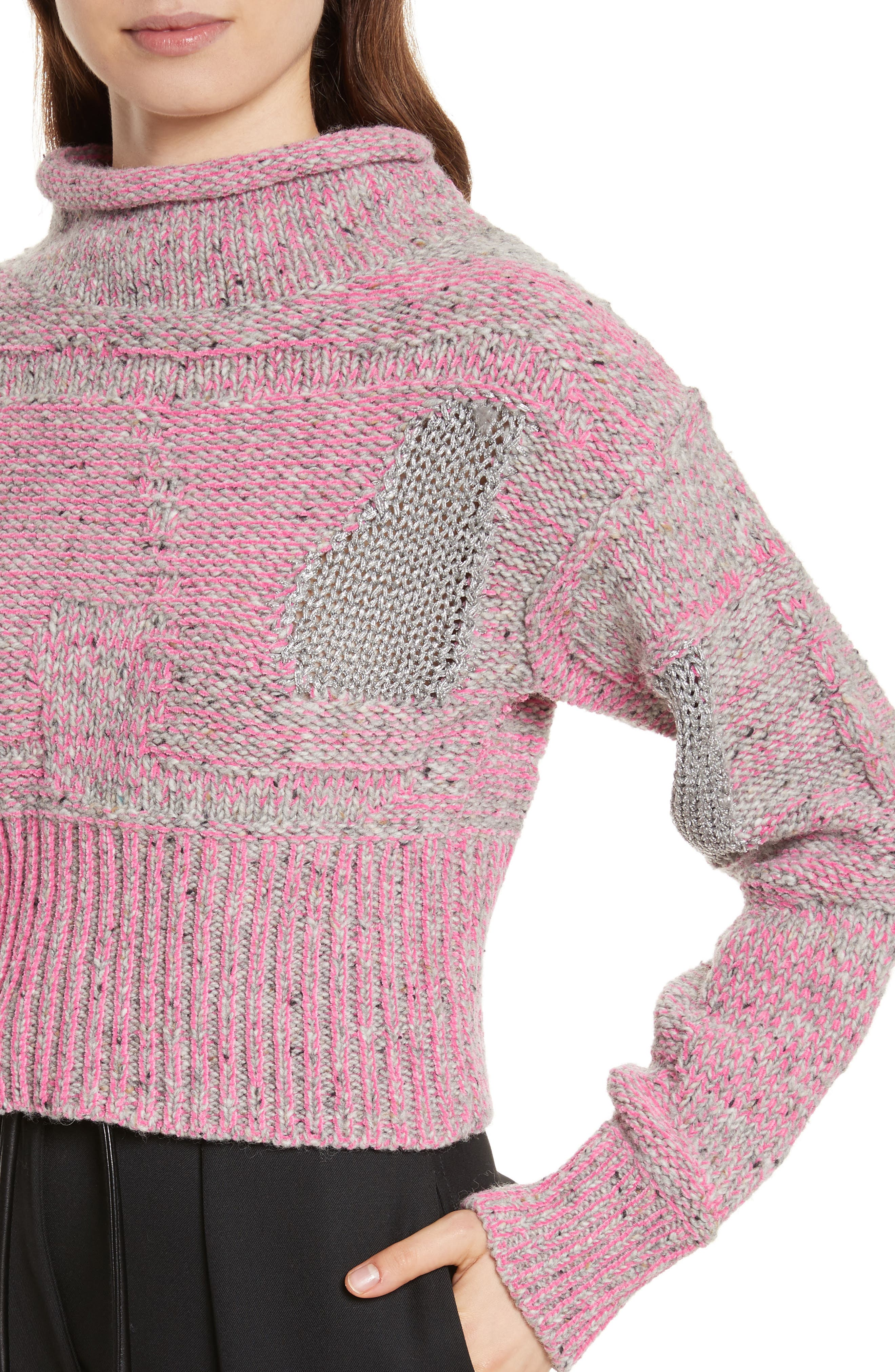 Wool Blend Funnel Neck Sweater,                             Alternate thumbnail 4, color,                             680