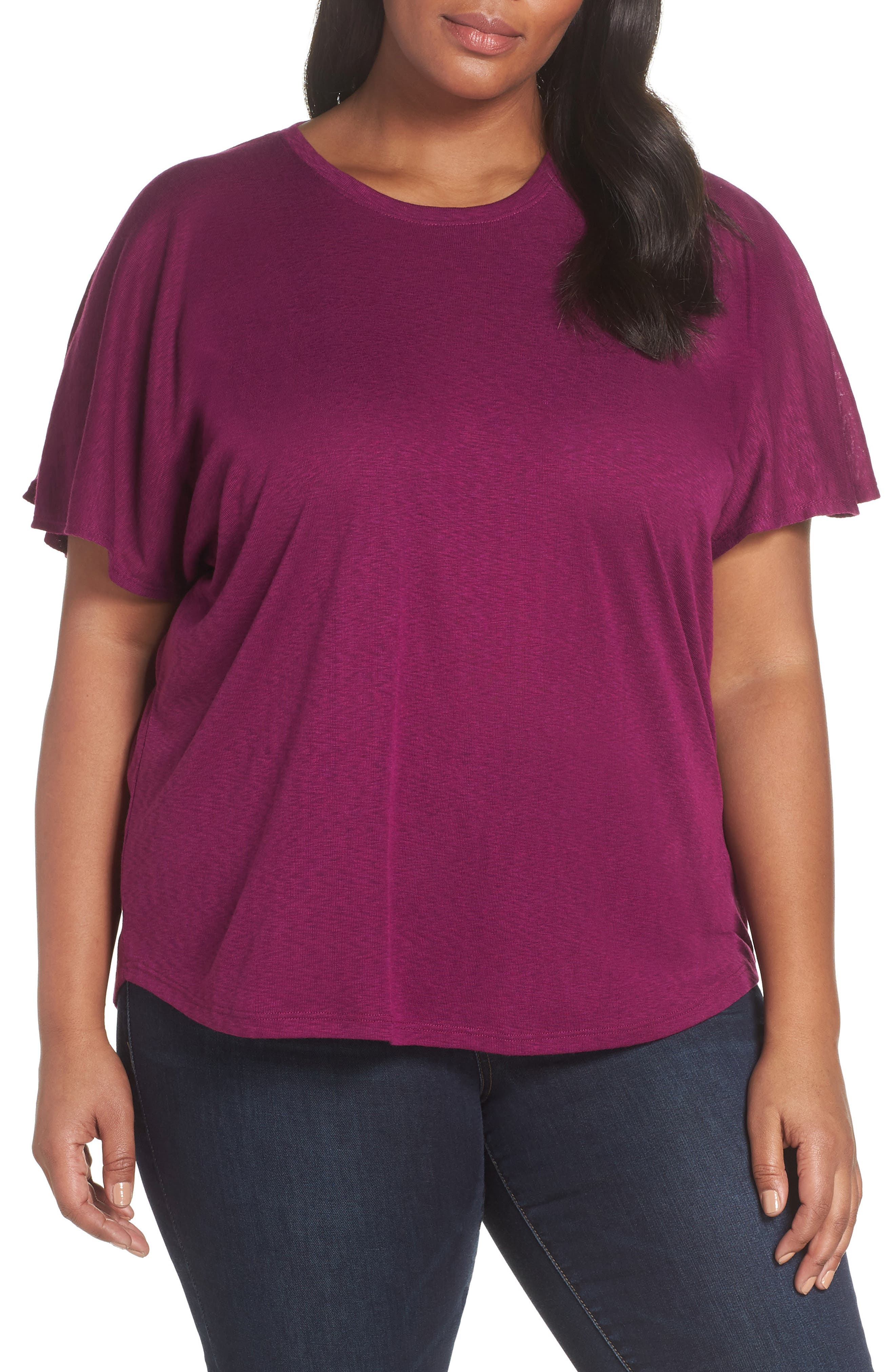 Flutter Sleeve Tee,                             Main thumbnail 1, color,                             VICTORIAN VIOLET