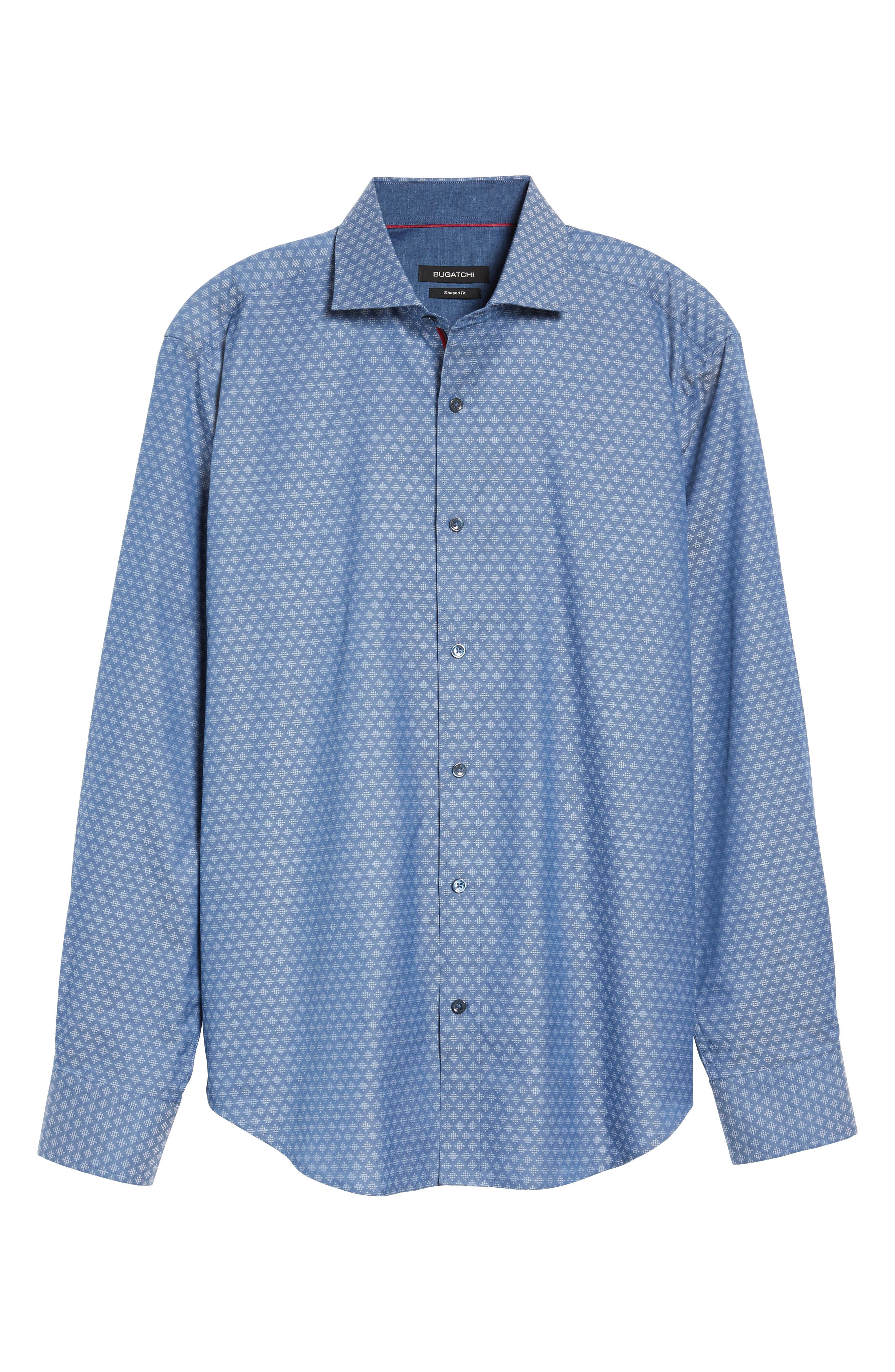 Shaped Fit Dobby Diamond Sport Shirt,                             Alternate thumbnail 6, color,                             030