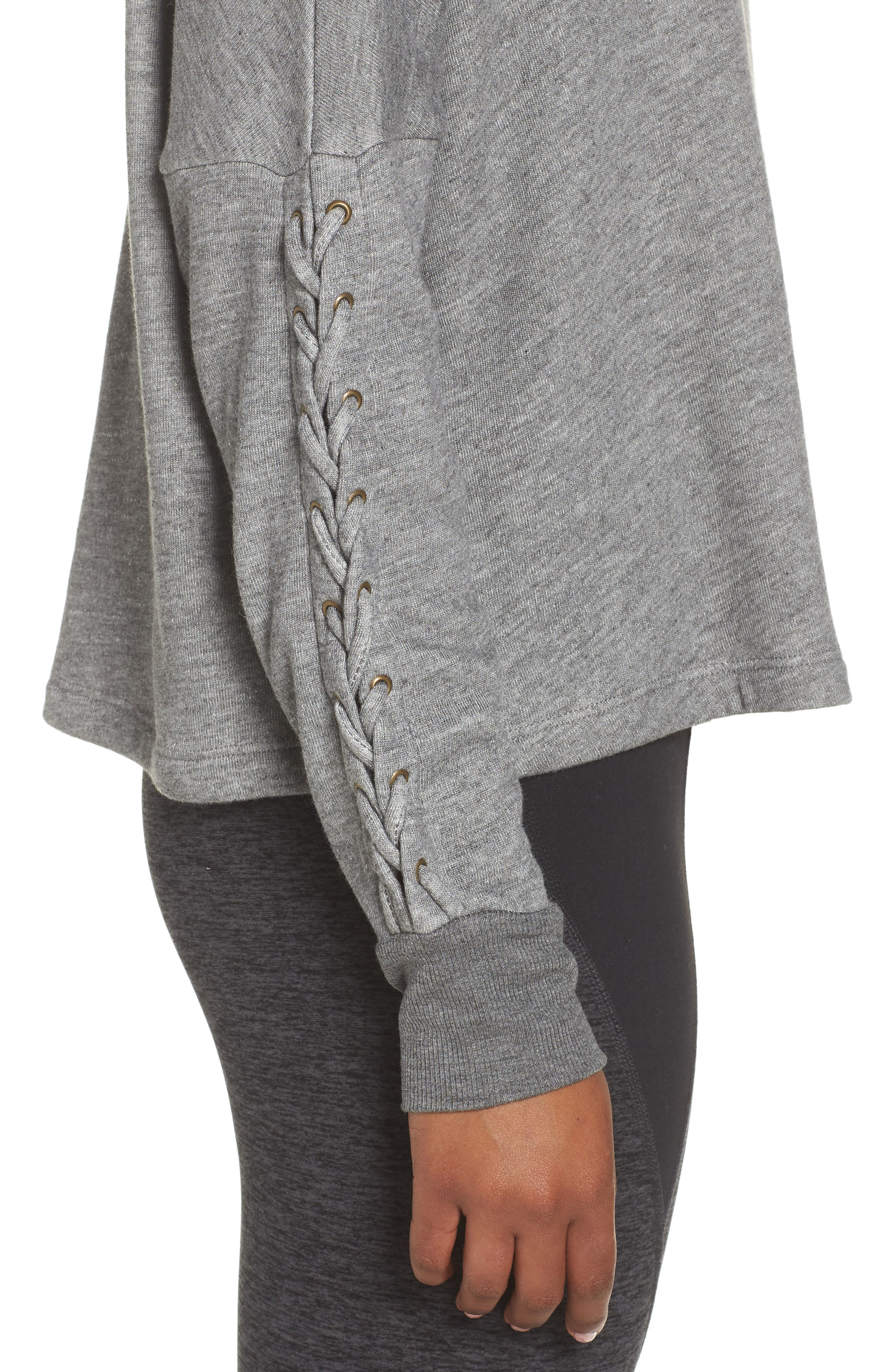 Laced Sleeve Pullover,                             Alternate thumbnail 4, color,                             MID HEATHER GREY