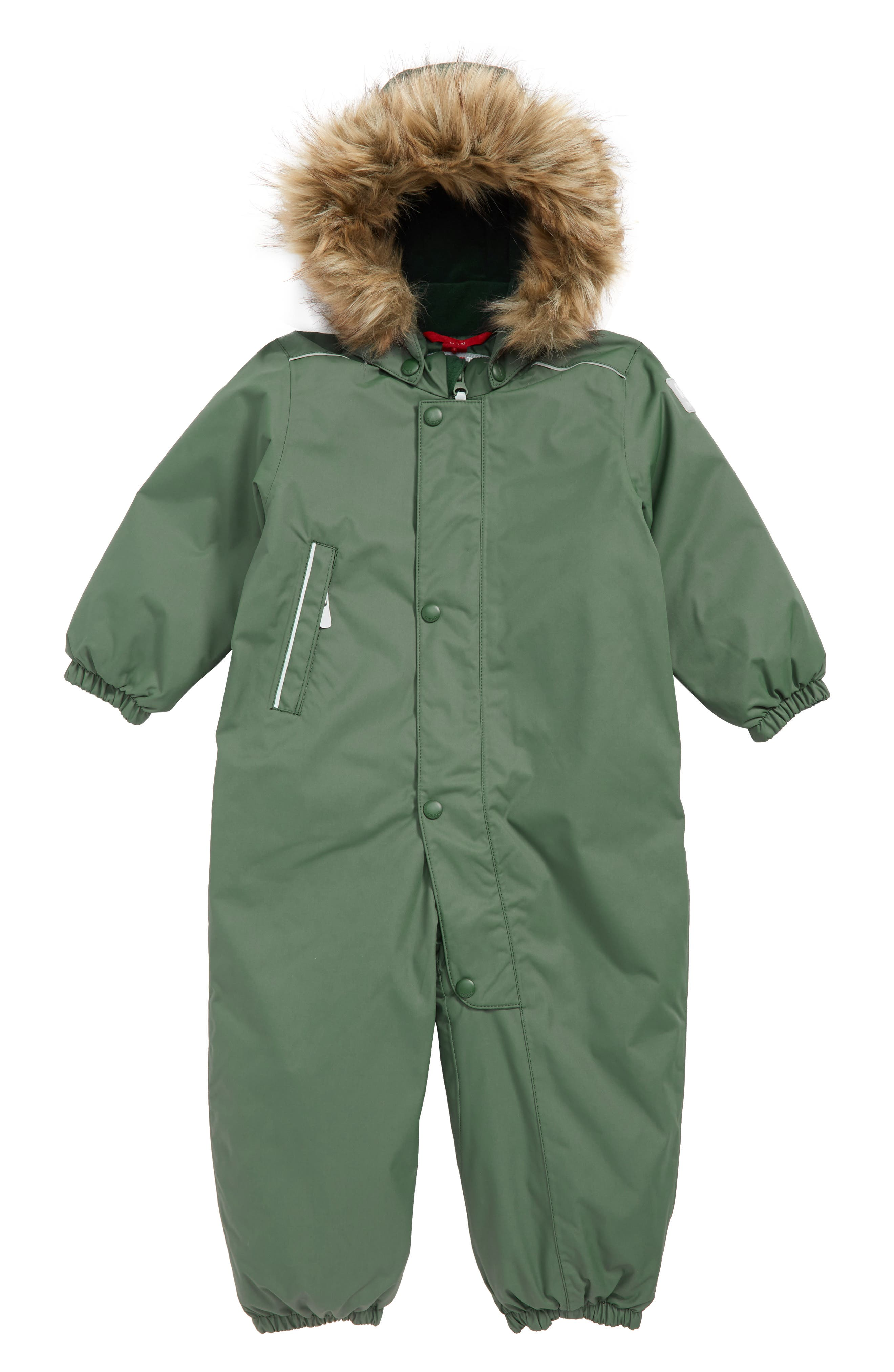 Gotland Reimatec<sup>®</sup> Waterproof Insulated Snow Suit with Faux Fur Trim,                             Main thumbnail 1, color,                             GREEN