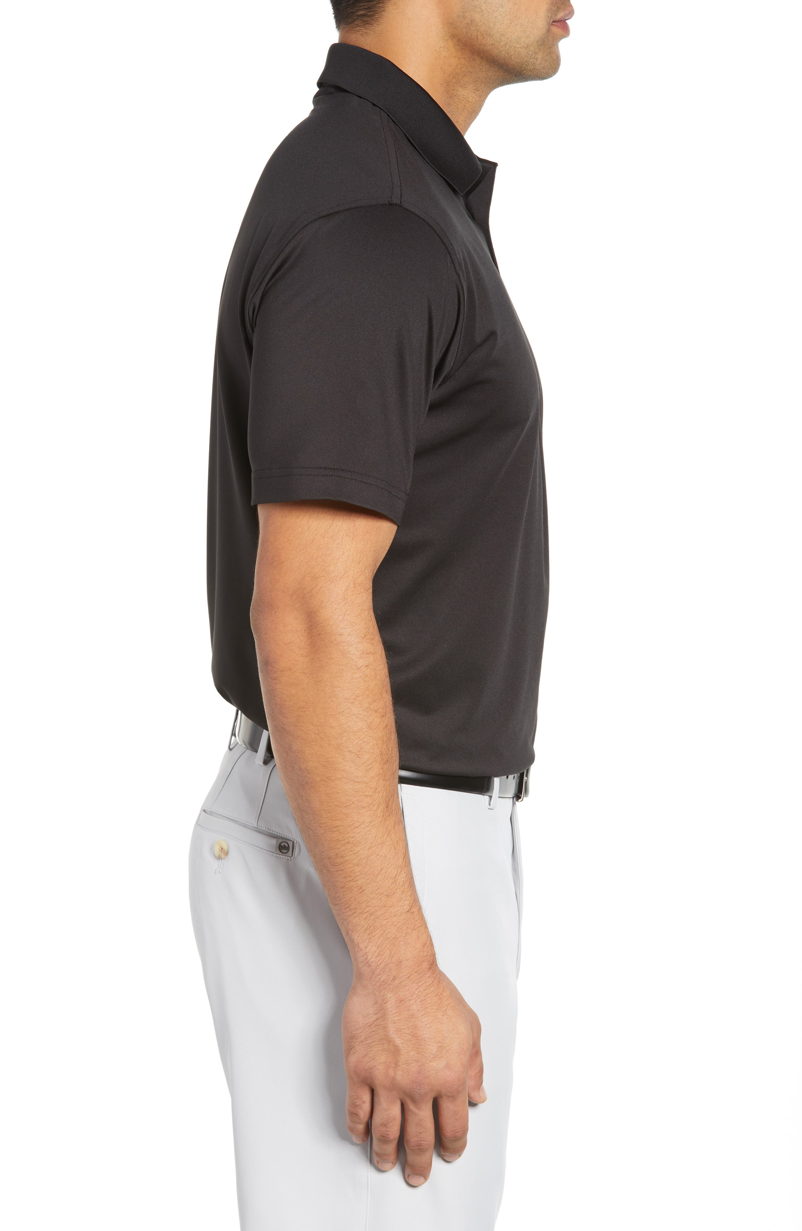 Stretch Jersey Performance Polo,                             Alternate thumbnail 3, color,                             BLACK