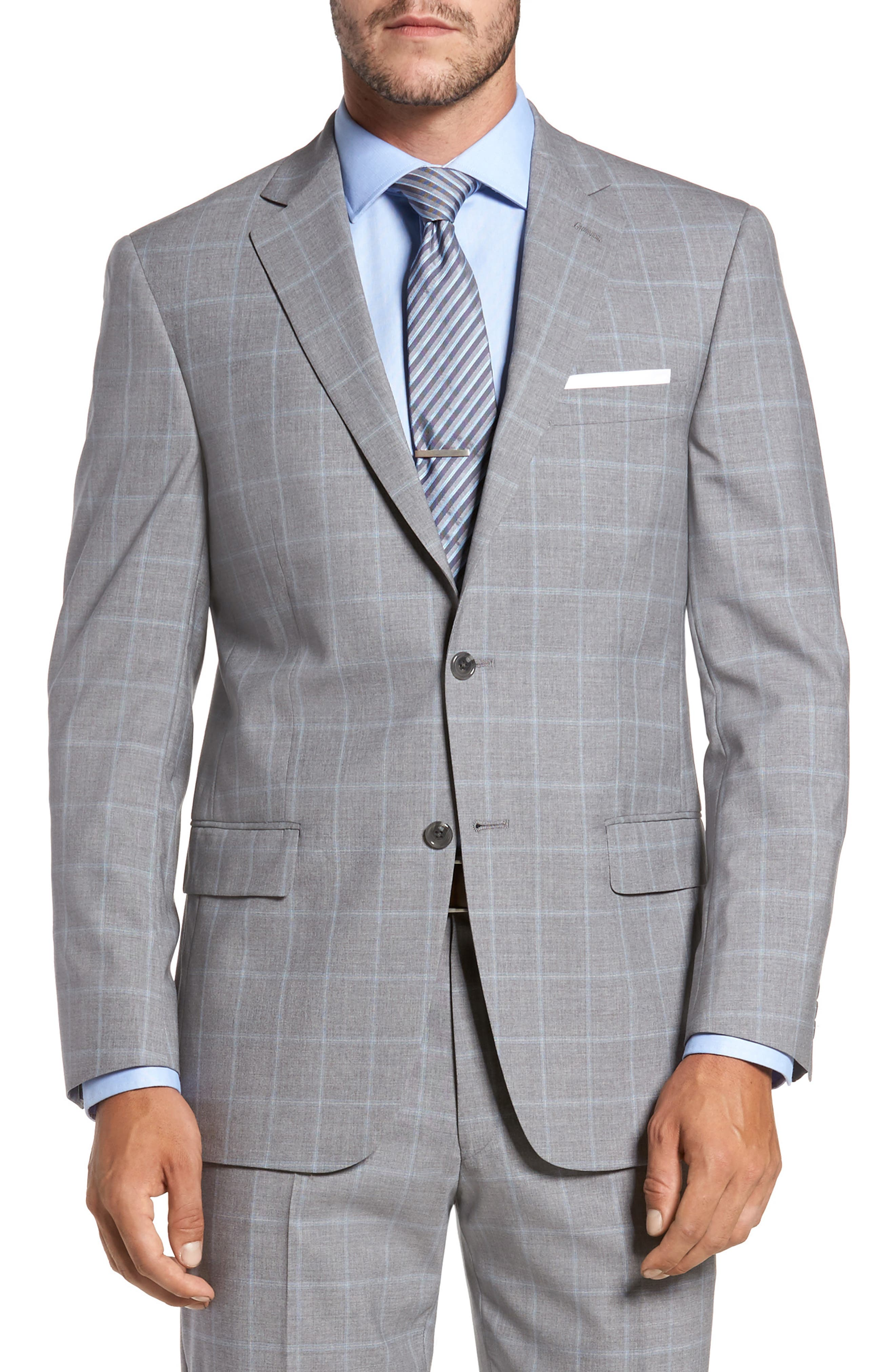 Classic Fit Windowpane Wool Suit,                             Alternate thumbnail 5, color,                             050