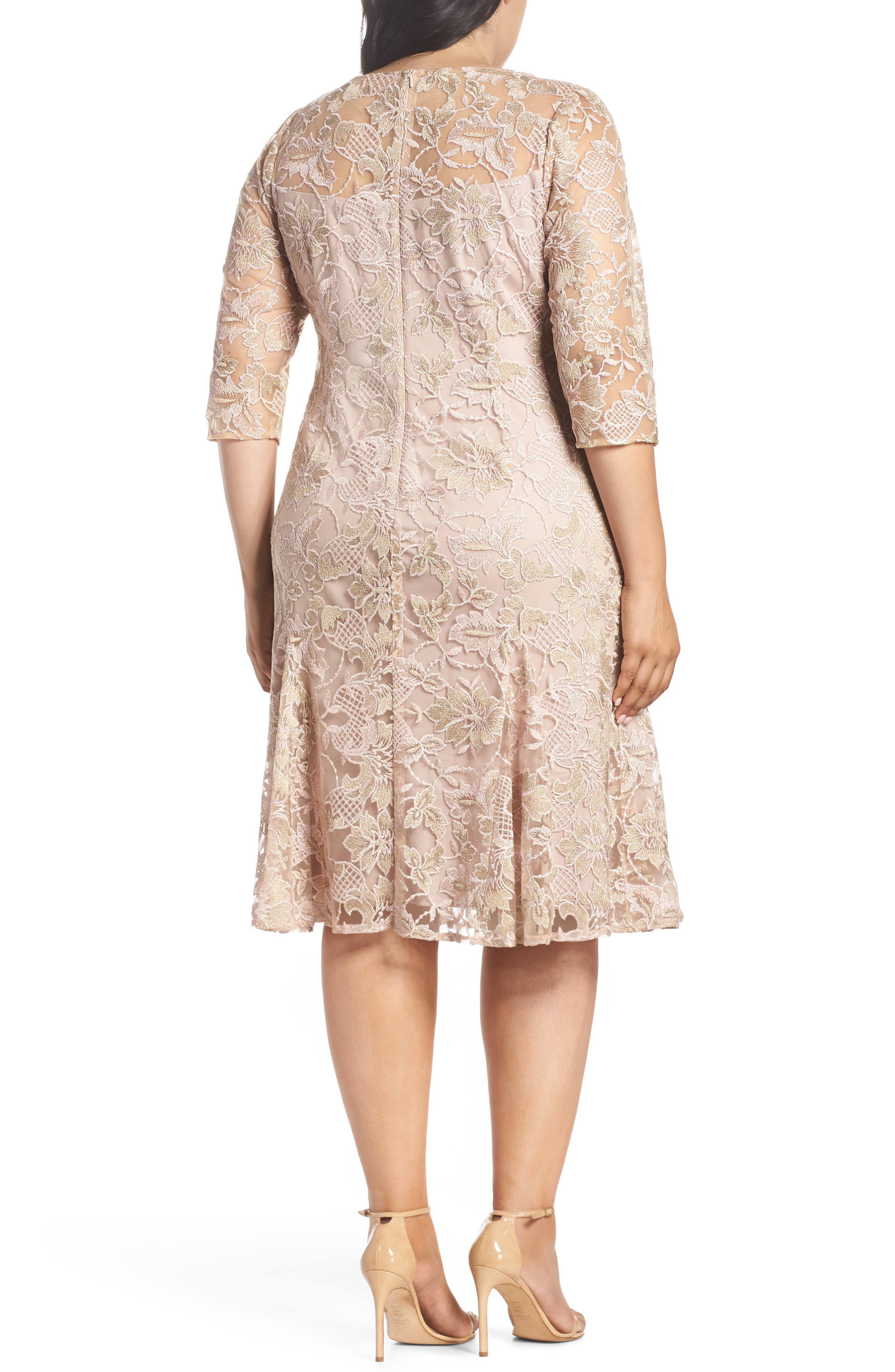 Embroidered Fit & Flare Dress,                             Alternate thumbnail 2, color,                             NUDE MULTI