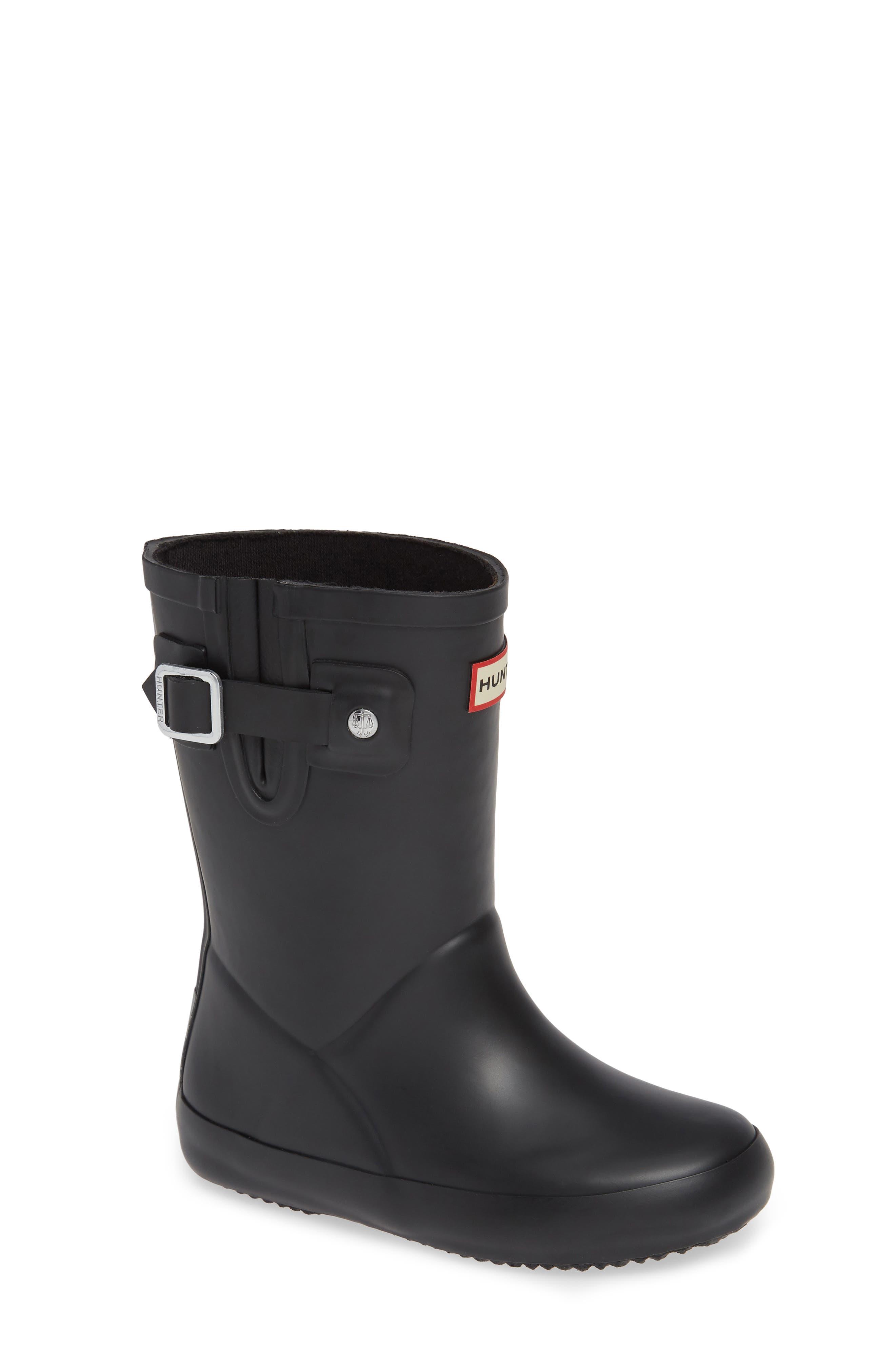 Buckle Strap Rain Boot,                             Main thumbnail 1, color,                             BLACK