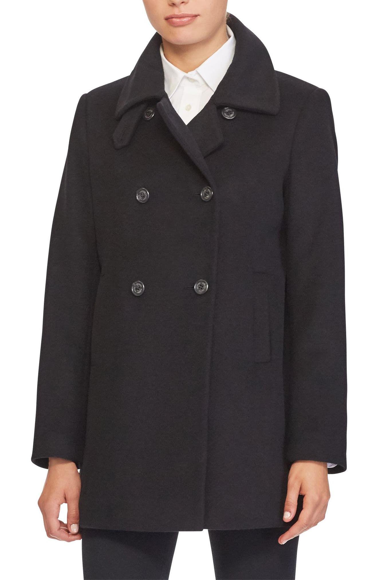 Double Breasted Peacoat,                         Main,                         color, 001
