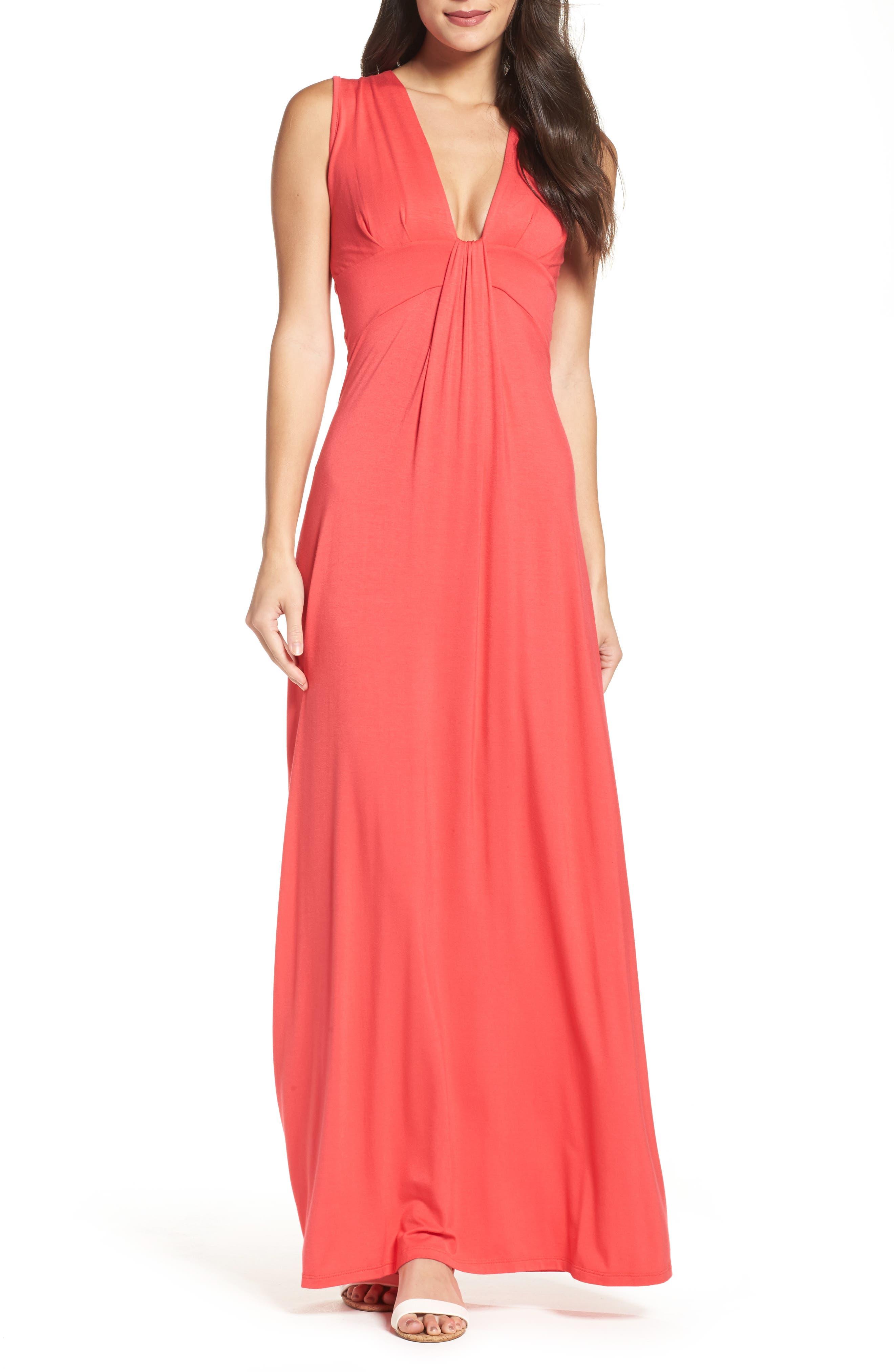Deep V-Neck Jersey Maxi Dress,                         Main,                         color, CORAL