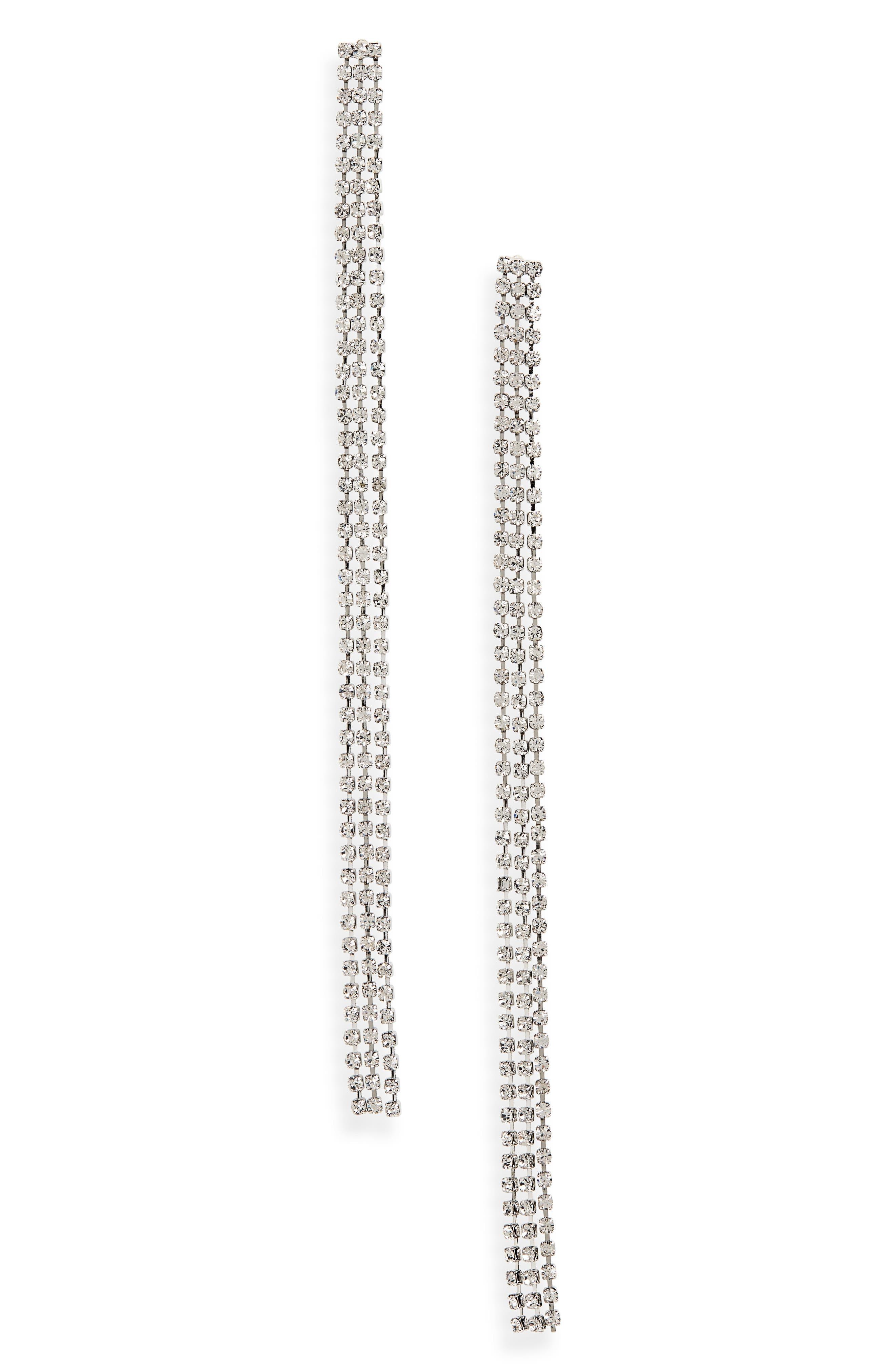 SEREFINA Crystal Drop Earrings in Silver