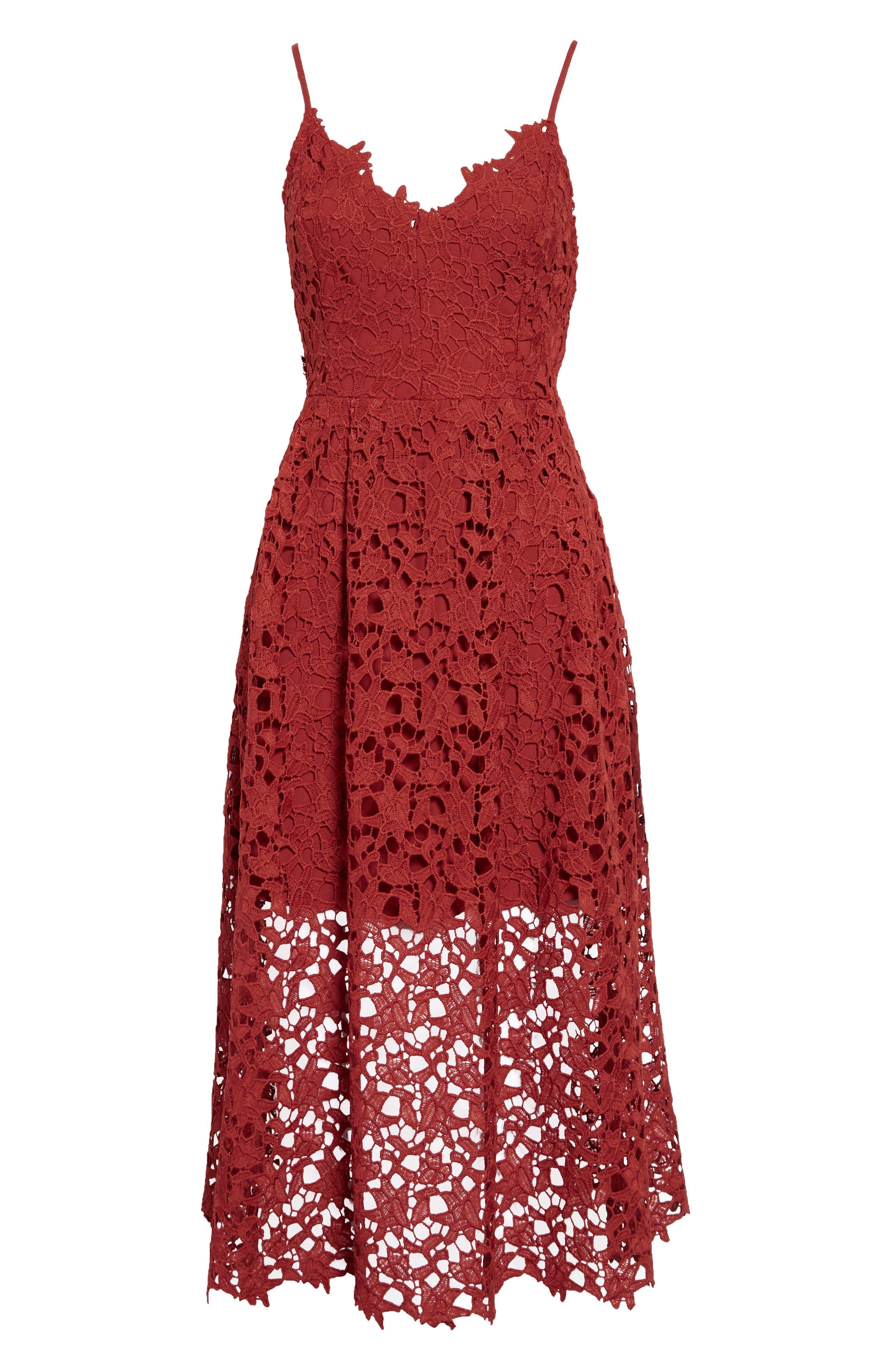 Lace Midi Dress,                             Alternate thumbnail 7, color,                             RUST