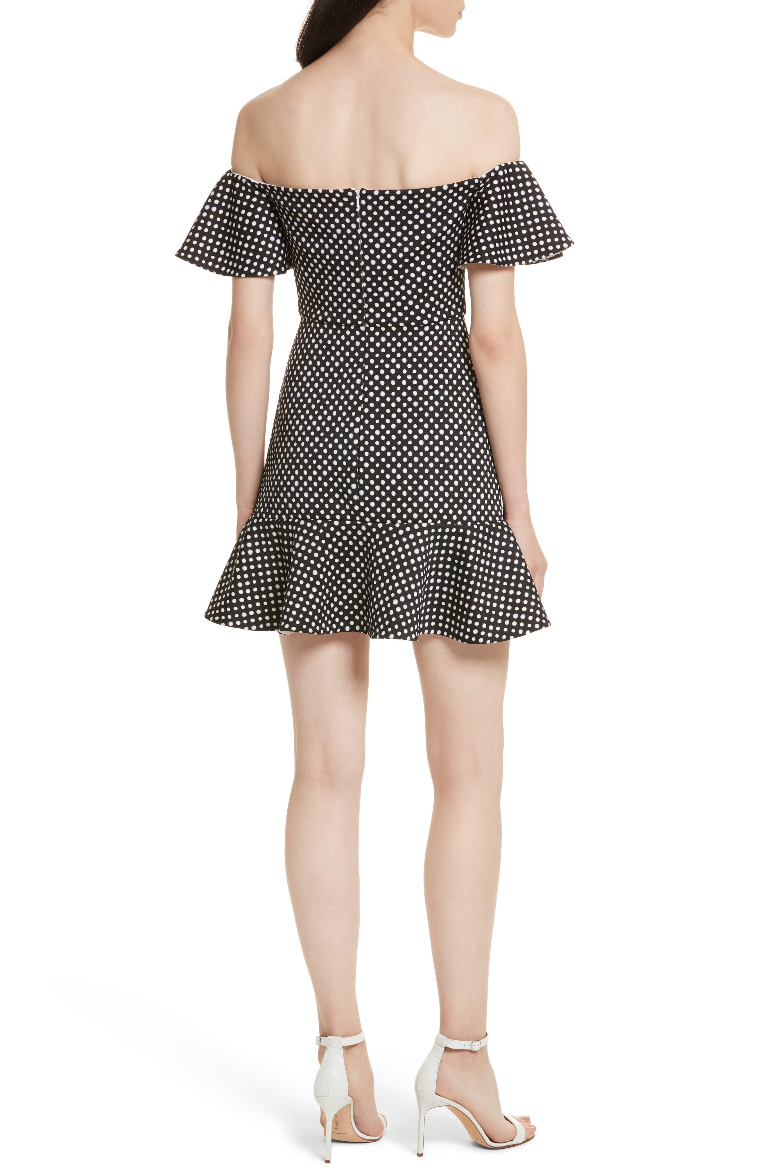 Amelia Polka Dot Print Off the Shoulder Dress,                             Alternate thumbnail 2, color,