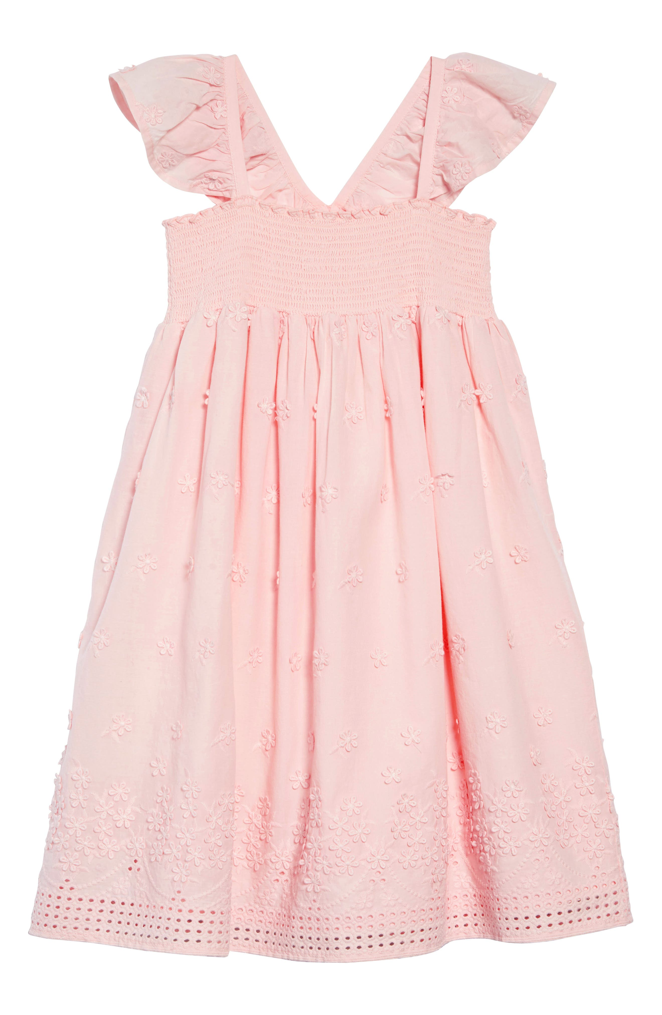 RUBY & BLOOM Flutter Sleeve Dress, Main, color, PINK CHINTZ