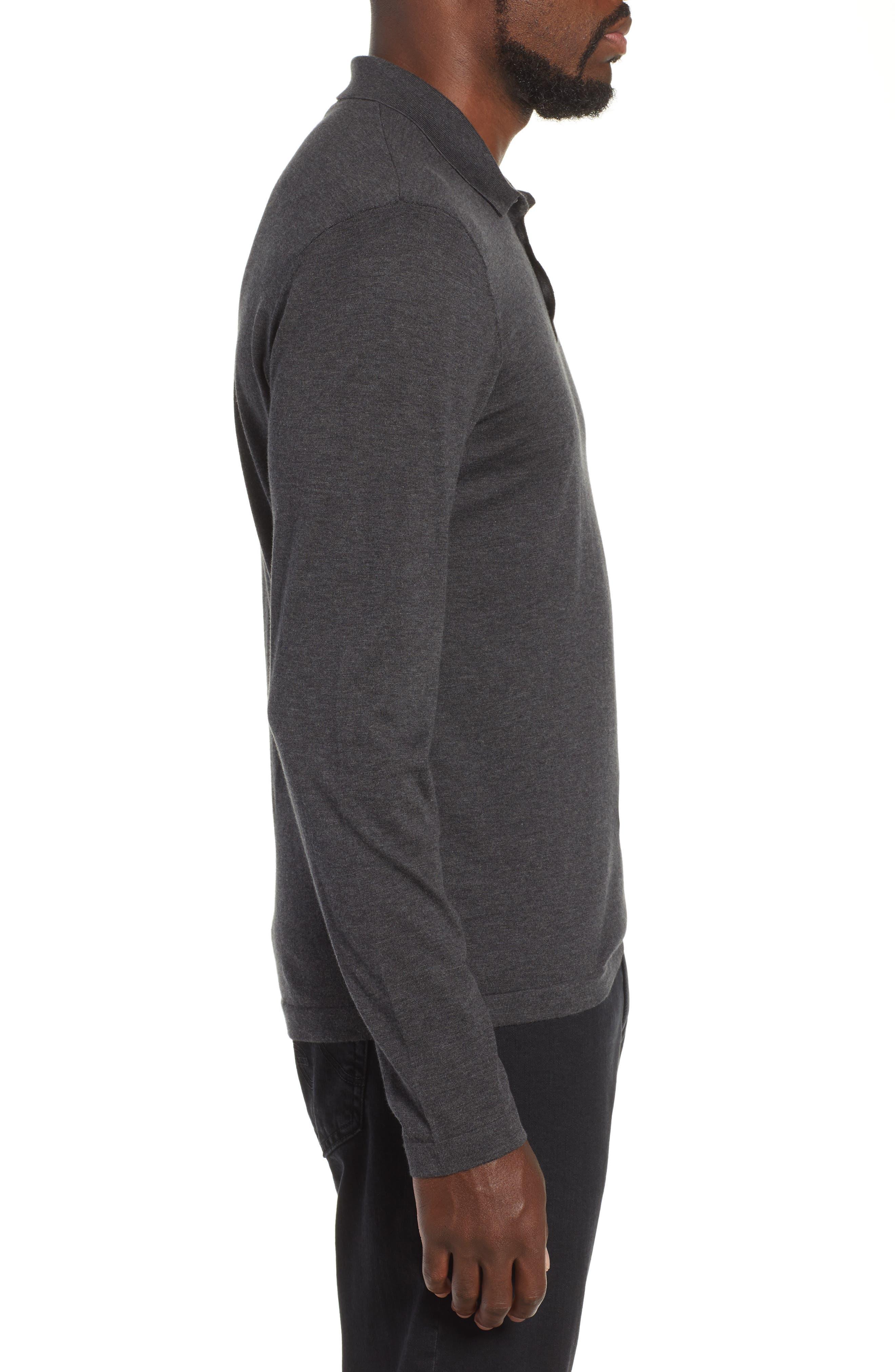 Fine Gauge Regular Fit Cotton Polo,                             Alternate thumbnail 3, color,                             HEATHER CHARCOAL