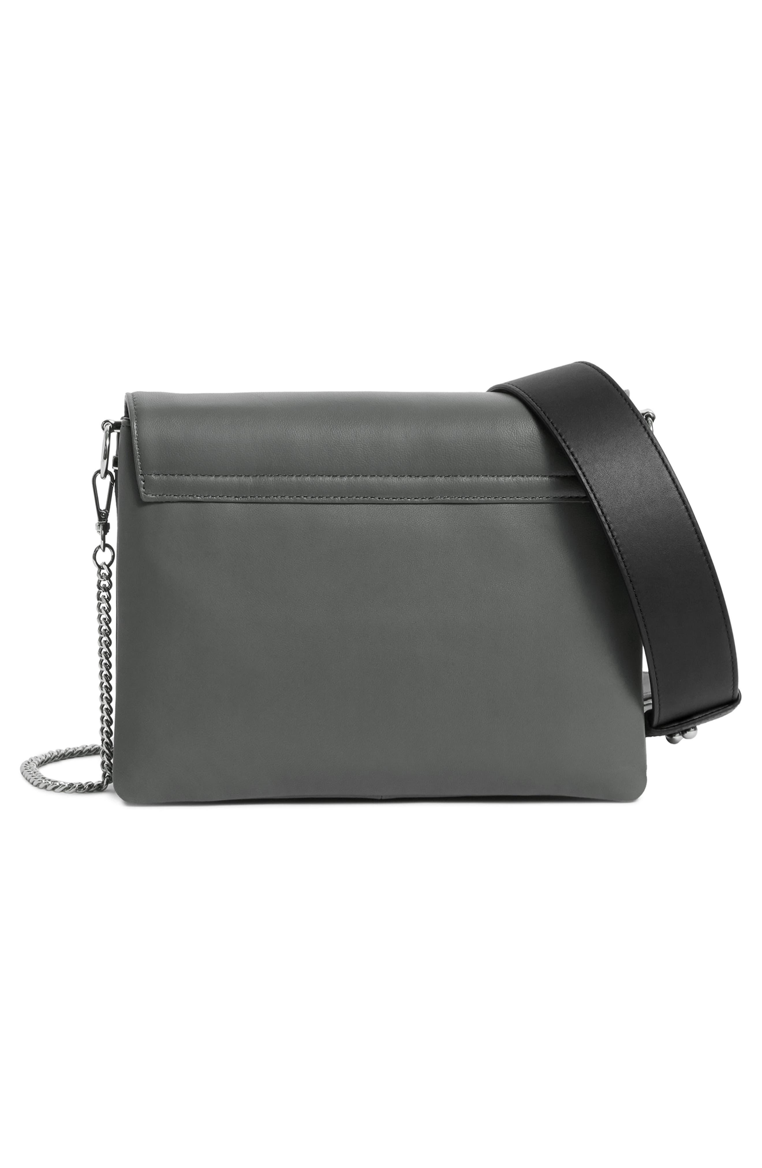 Zep Lambskin Leather Box Bag,                             Alternate thumbnail 4, color,                             SMOKY BLUE/ DARK BLUE