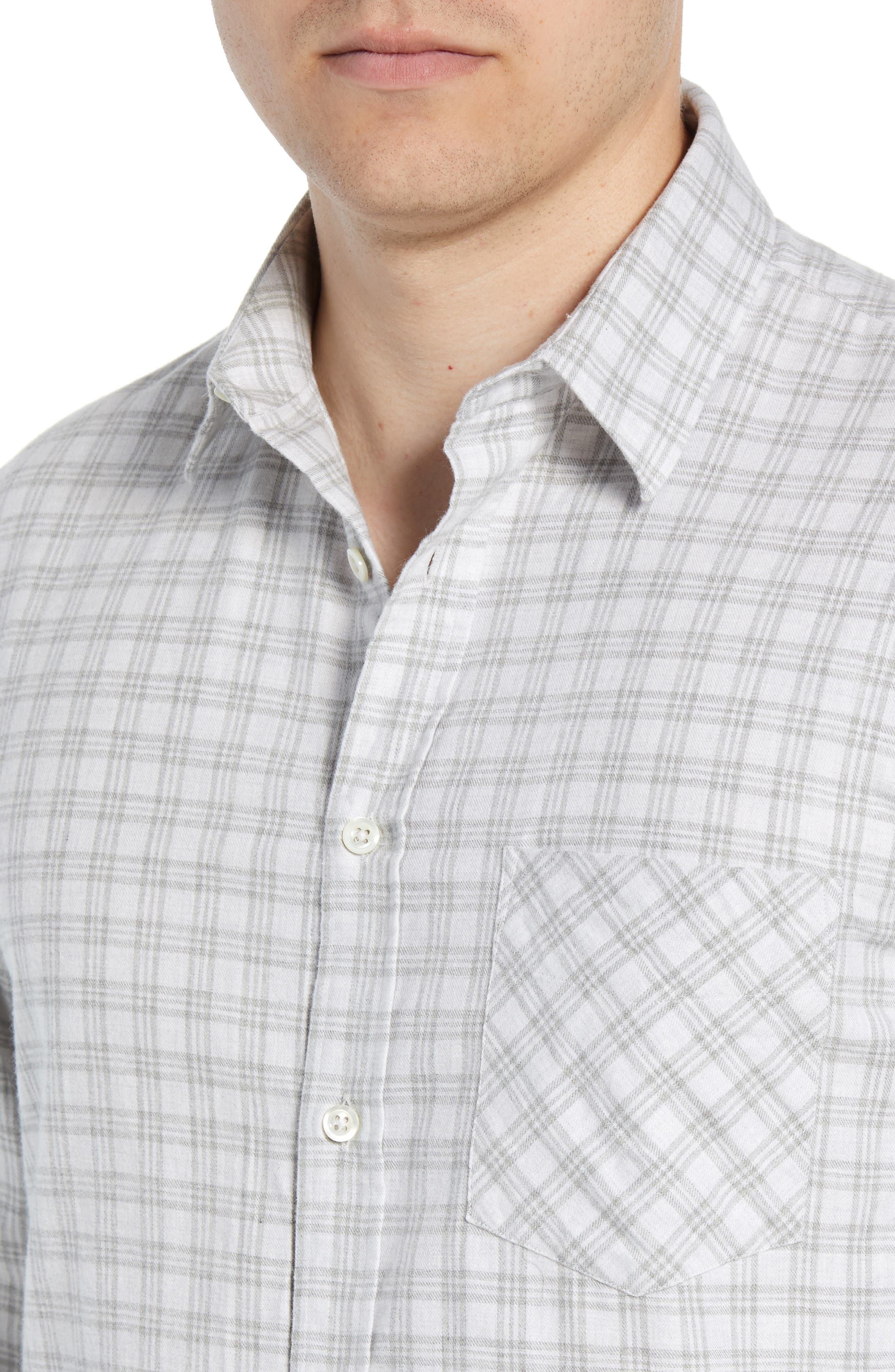 Kirby Slim Fit Check Sport Shirt,                             Alternate thumbnail 2, color,                             LIGHT GREY/ NATURAL
