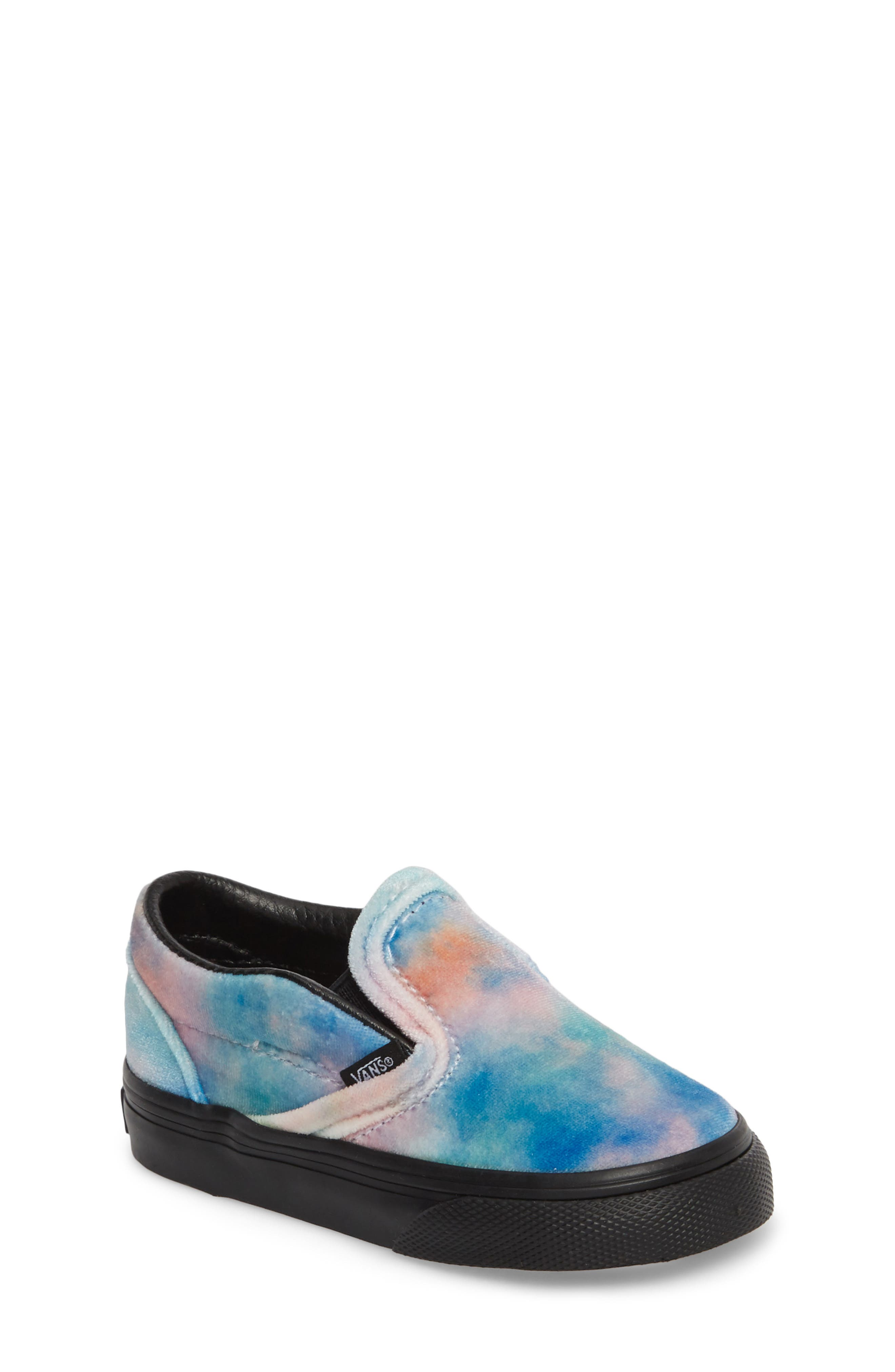 Classic Velvet Tie Dye Slip-On Sneaker,                         Main,                         color, 001