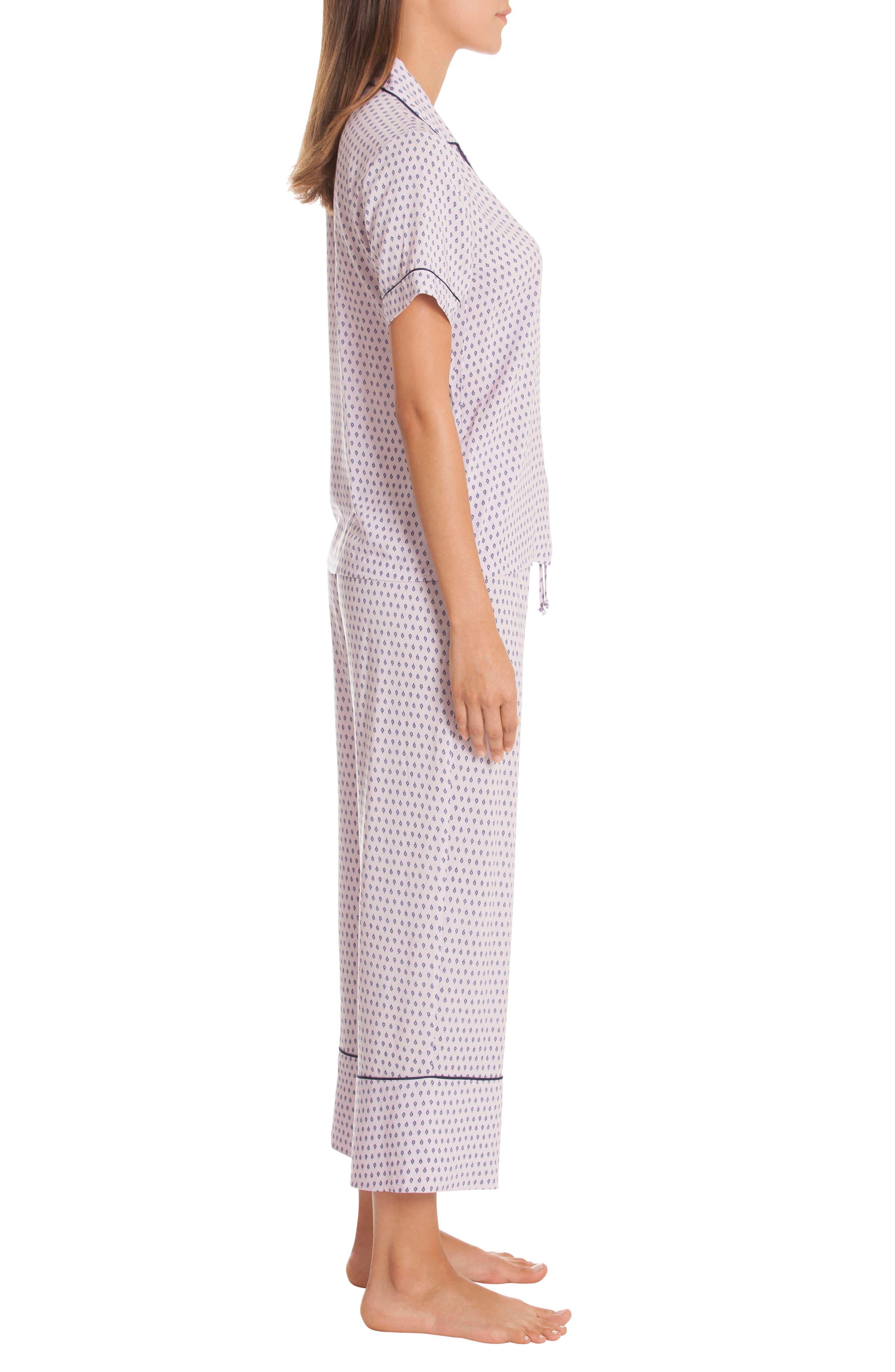 Crop Pajamas,                             Alternate thumbnail 3, color,                             DITSY FOULARD-LAVENDAR