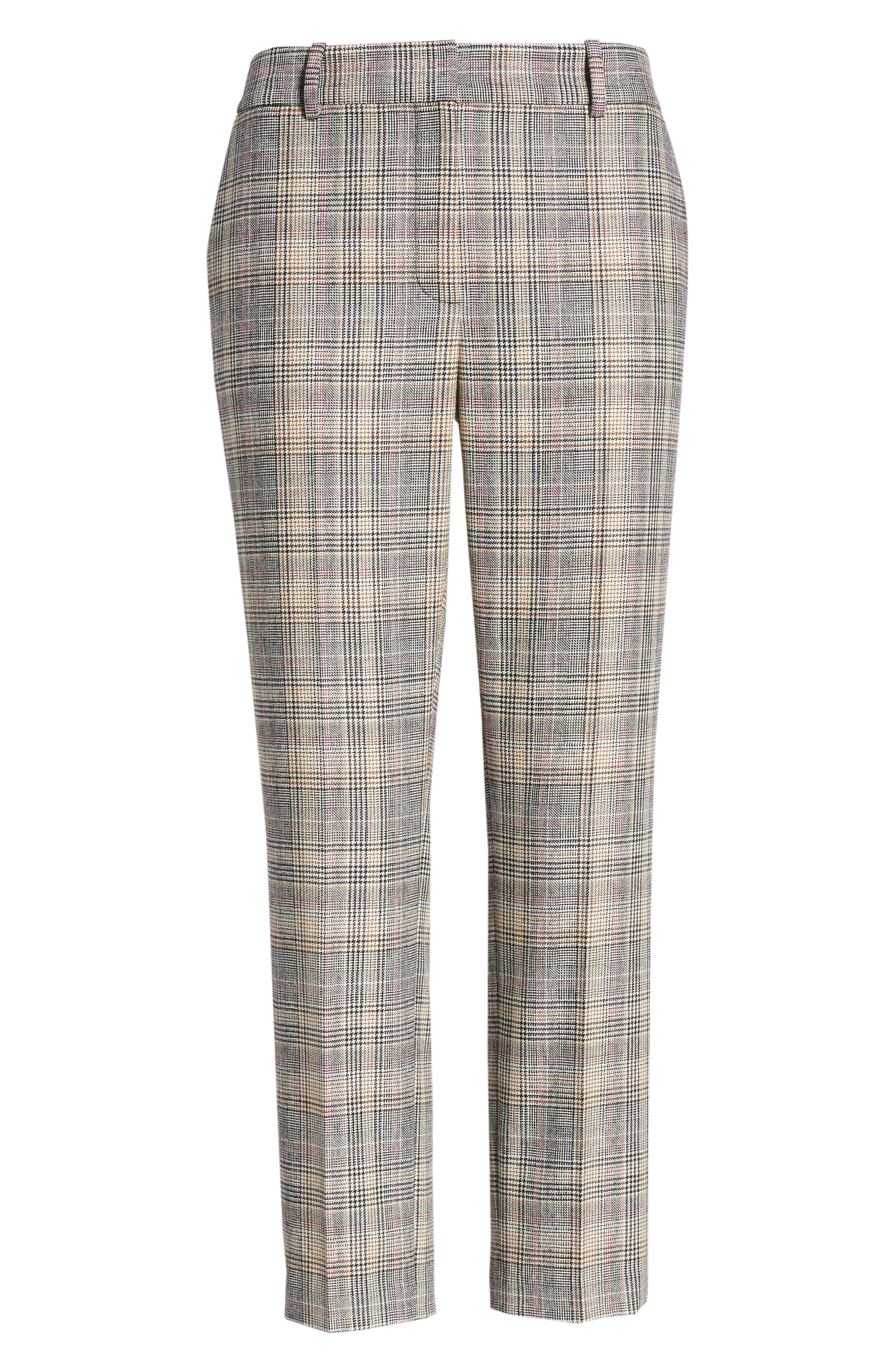 Plaid Slim Leg Crop Pants,                             Alternate thumbnail 7, color,                             001