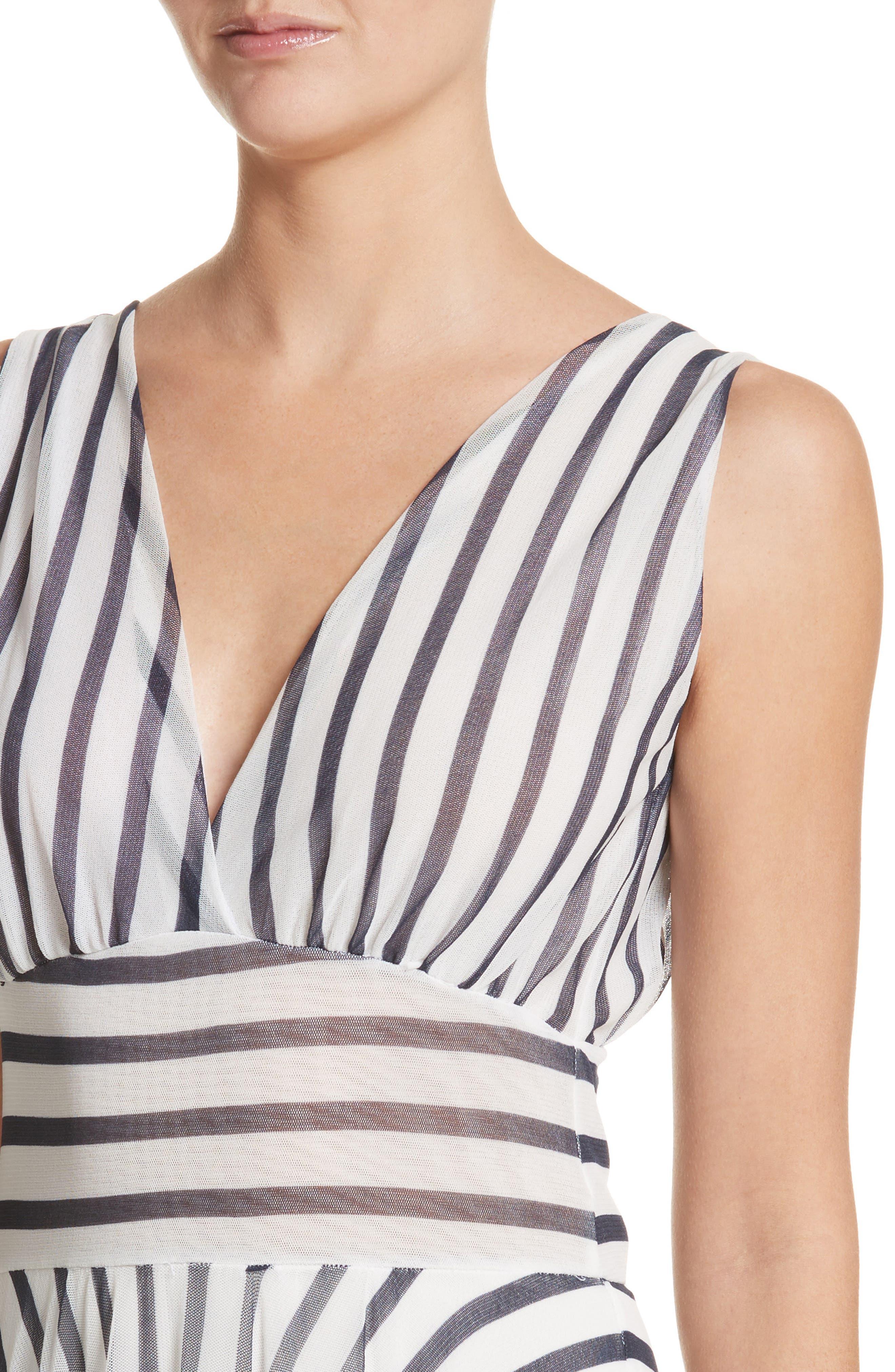 Multistripe Midi Dress,                             Alternate thumbnail 4, color,                             110