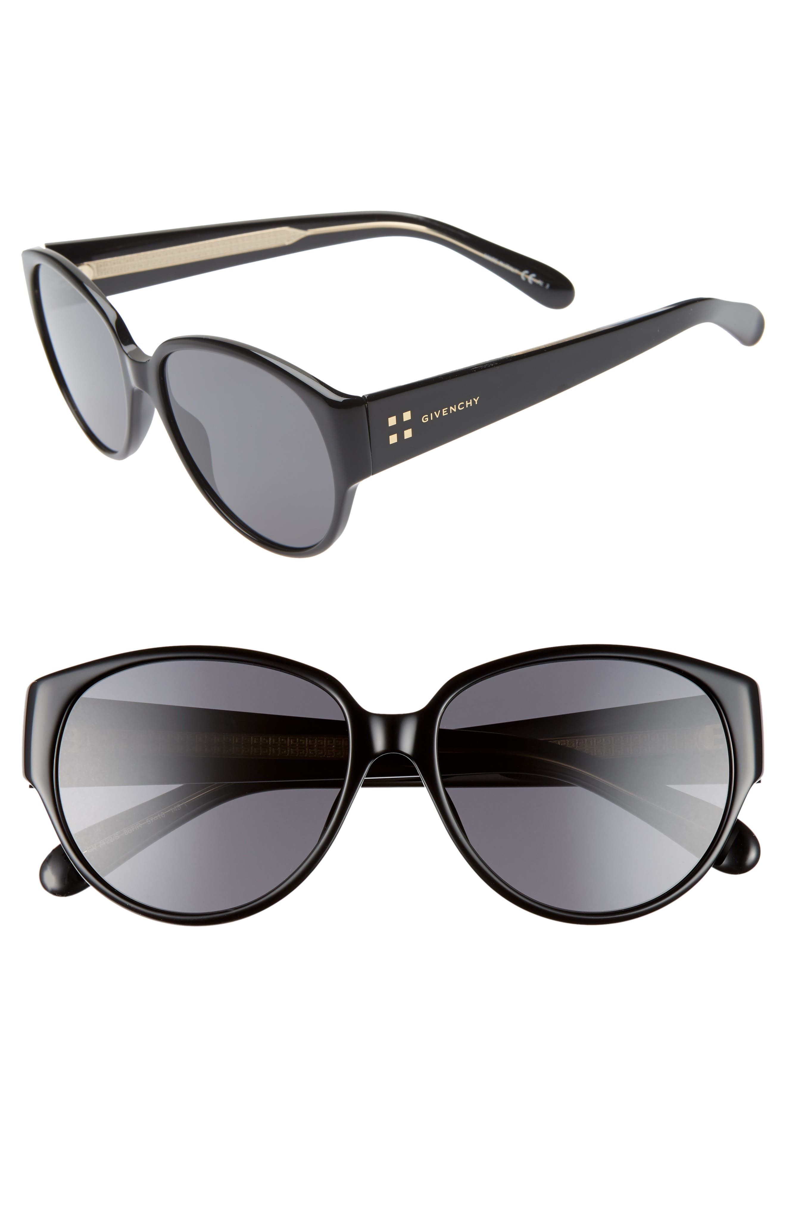 57mm Round Sunglasses, Main, color, 001
