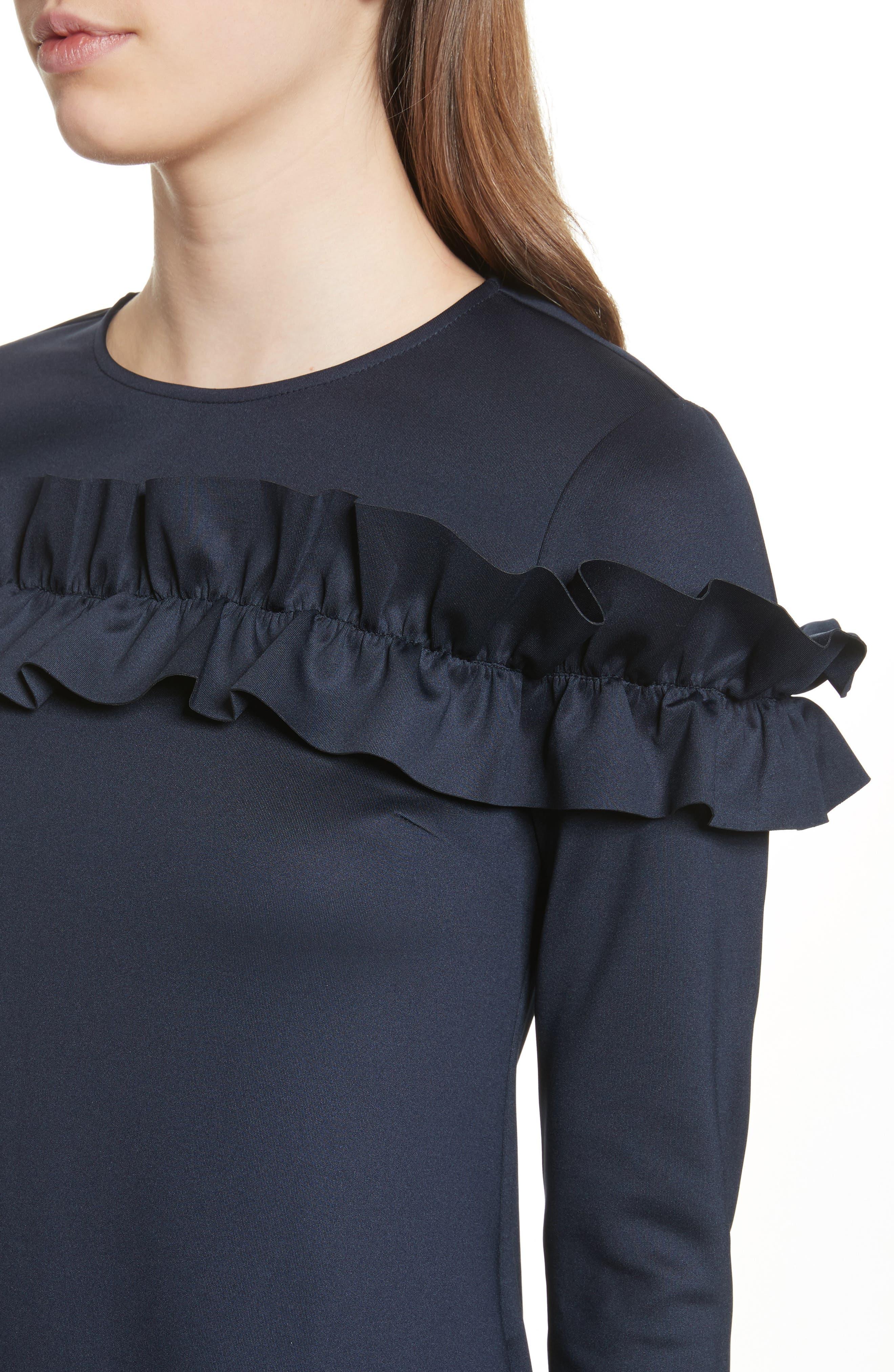 Ruffle Bodice Tunic Dress,                             Alternate thumbnail 4, color,                             402