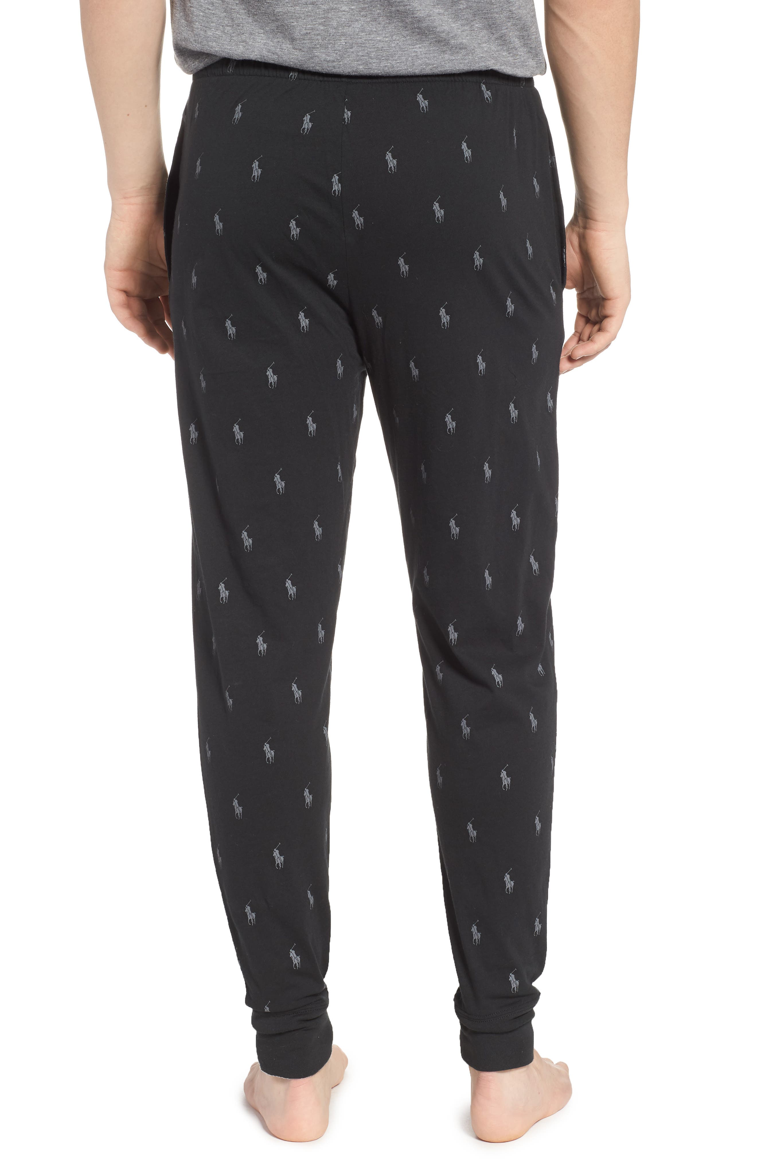 Pony Print Pajama Pants,                             Alternate thumbnail 2, color,                             POLO BLACK