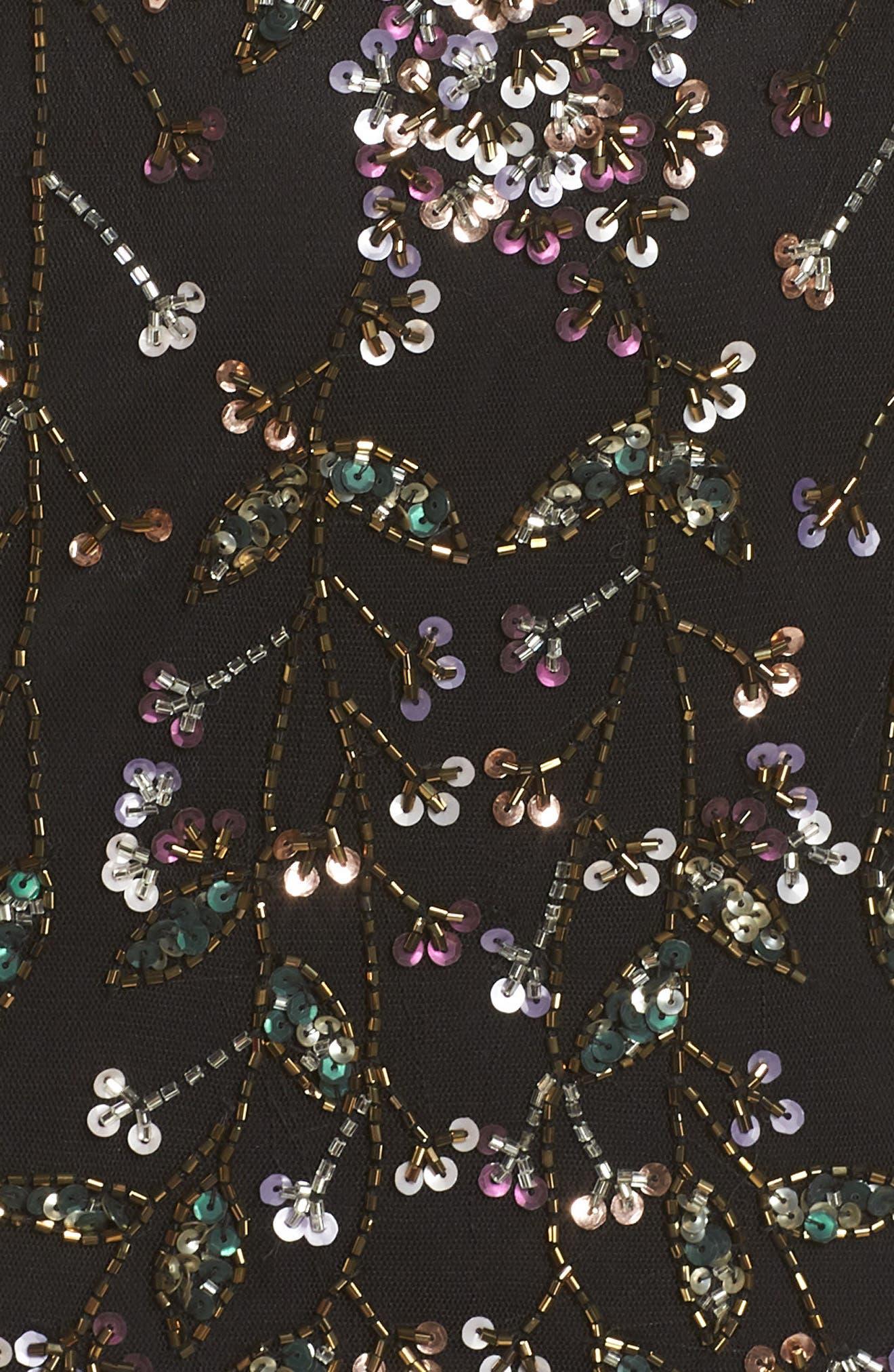 Beaded Gown,                             Alternate thumbnail 7, color,                             BLACK MULTI