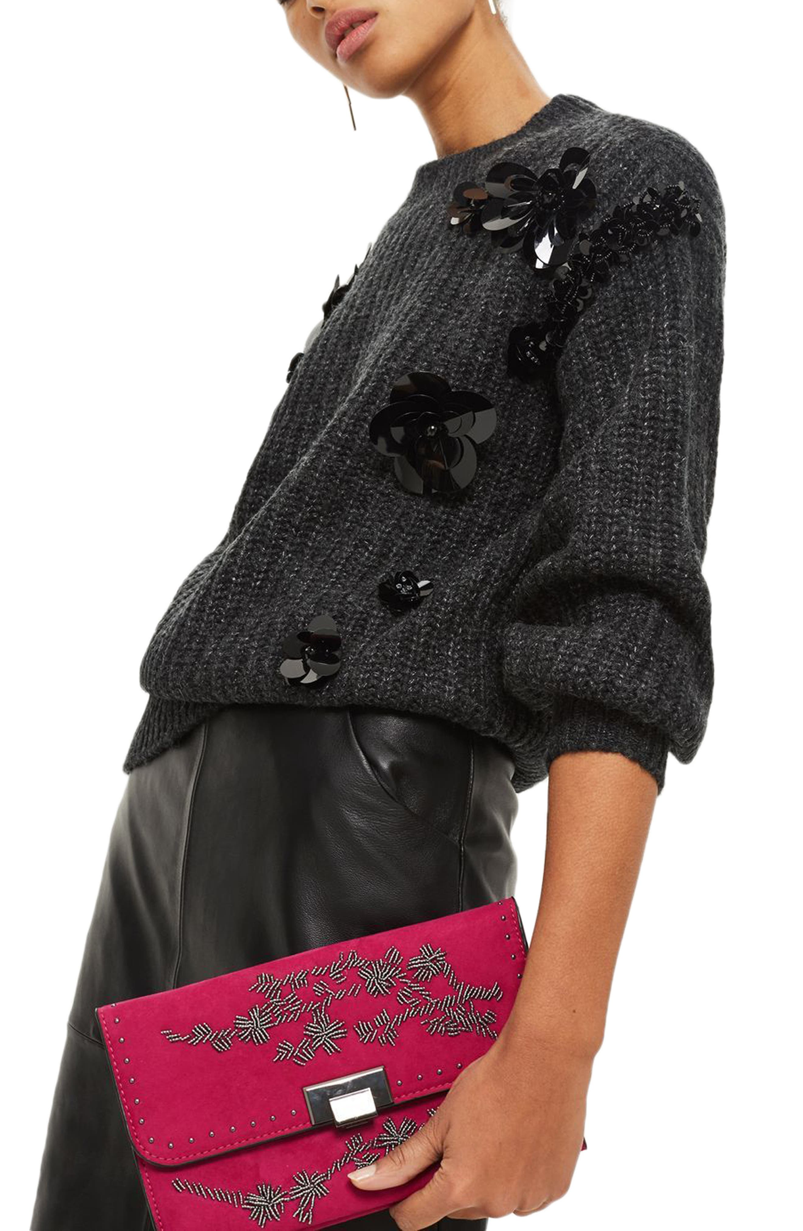 Floral Beaded Convertible Clutch,                             Alternate thumbnail 2, color,                             650